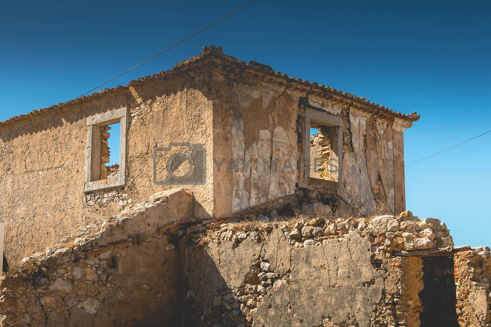 architectural detail of an old house in ruins on the seaside in Portugal