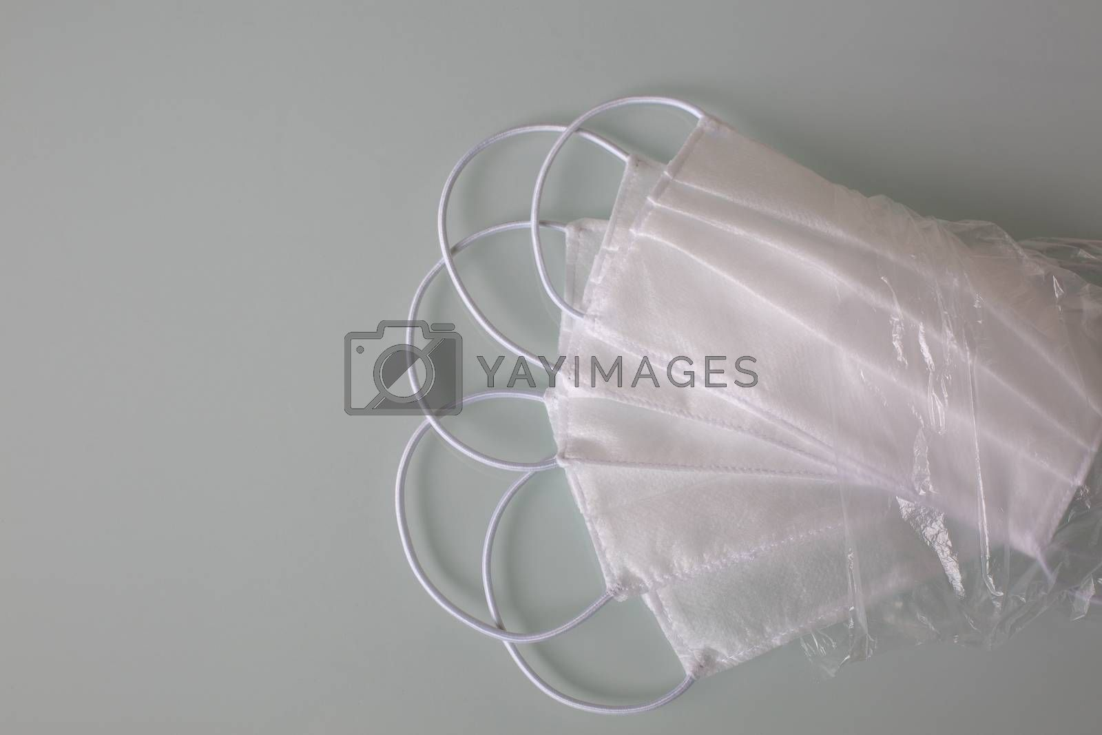 Kit of protective medical masks against corona virus. Empty space