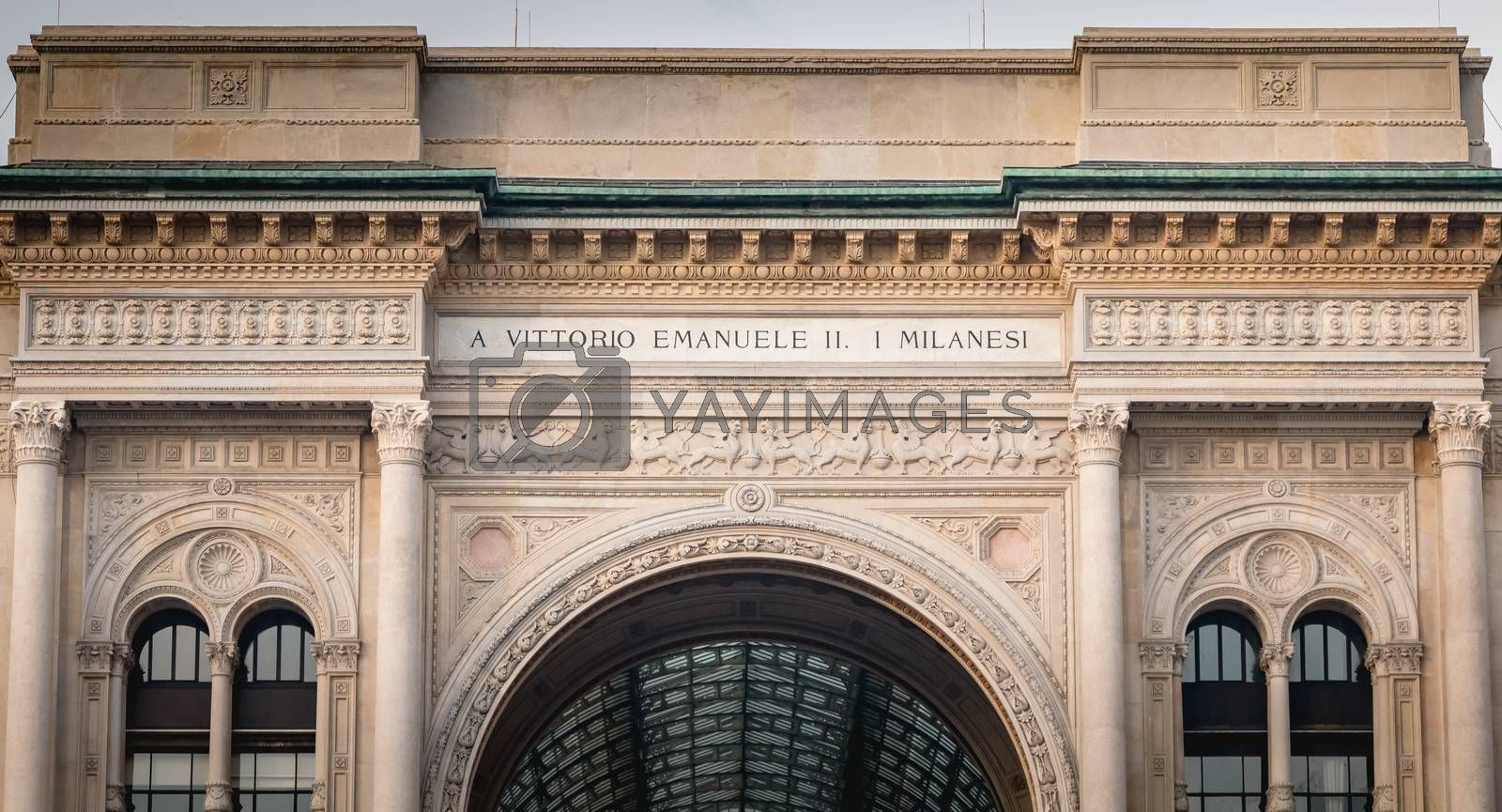 Milan, Italy - November 2, 2017: Architectural detail of Galleria Vittorio Emanuele II, a prestigious historic shopping gallery located between Milan s Duomo Square and La Scala. The gallery is due to the architect Giuseppe Mengoni