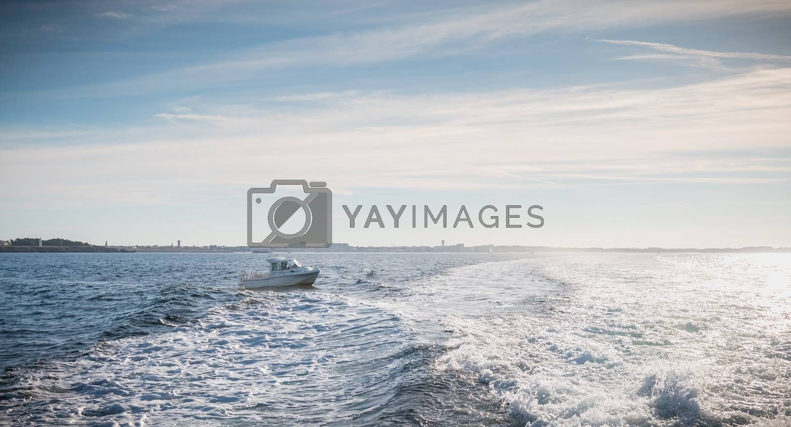 Small fishing boat entering the harbor accompanied by seagulls