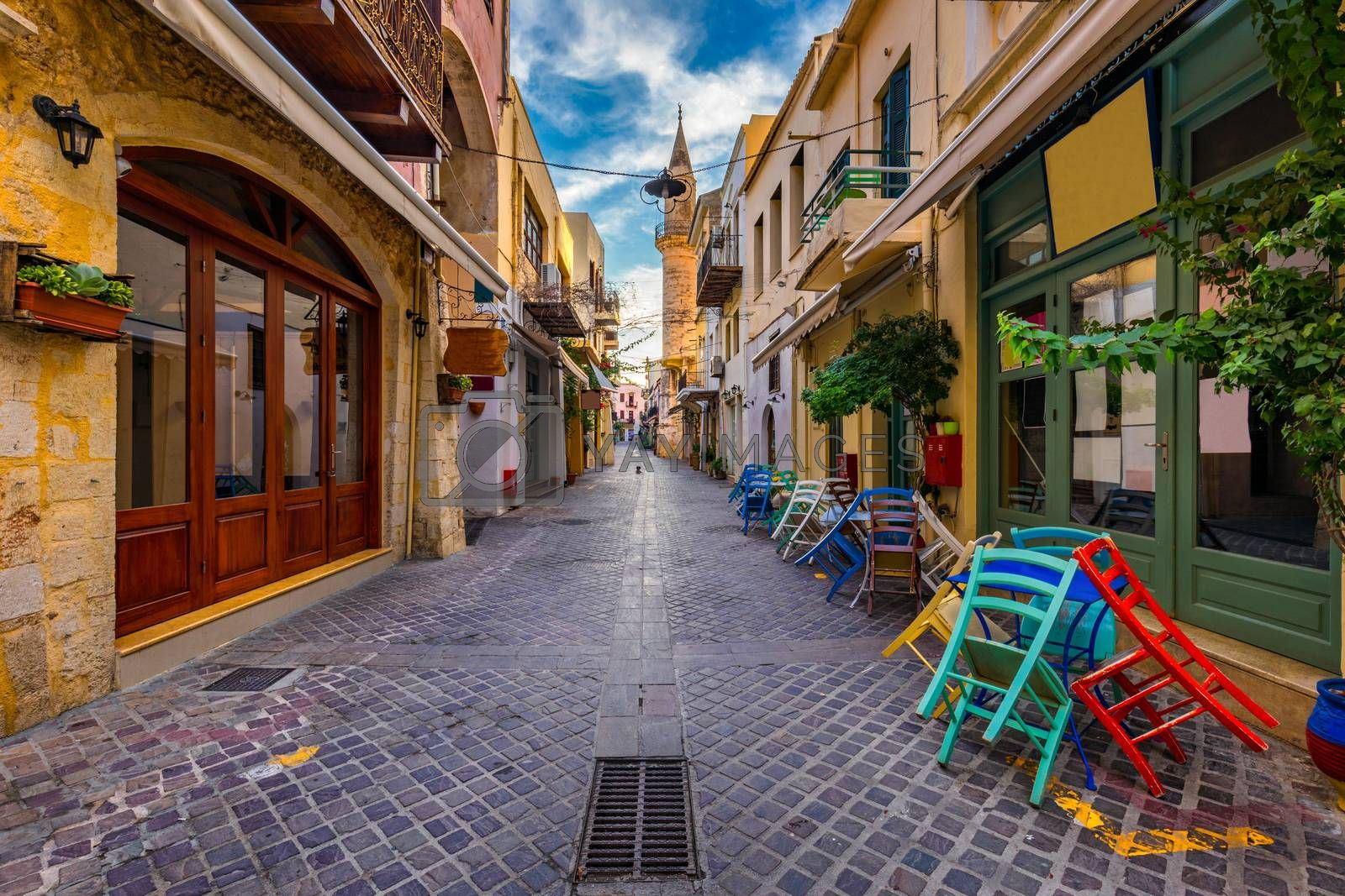 Street in the old town of Chania, Crete, Greece. Charming streets of Greek islands, Crete. Beautiful street in Chania, Crete island, Greece. Summer landscape. Chania old street of Crete island Greece.