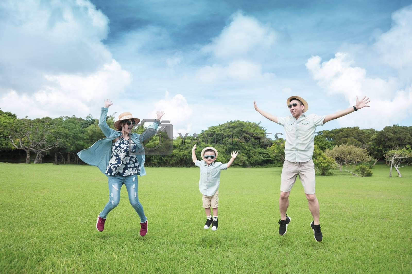 happy  family jumping on the grass and enjoy summer vacation by tomwang