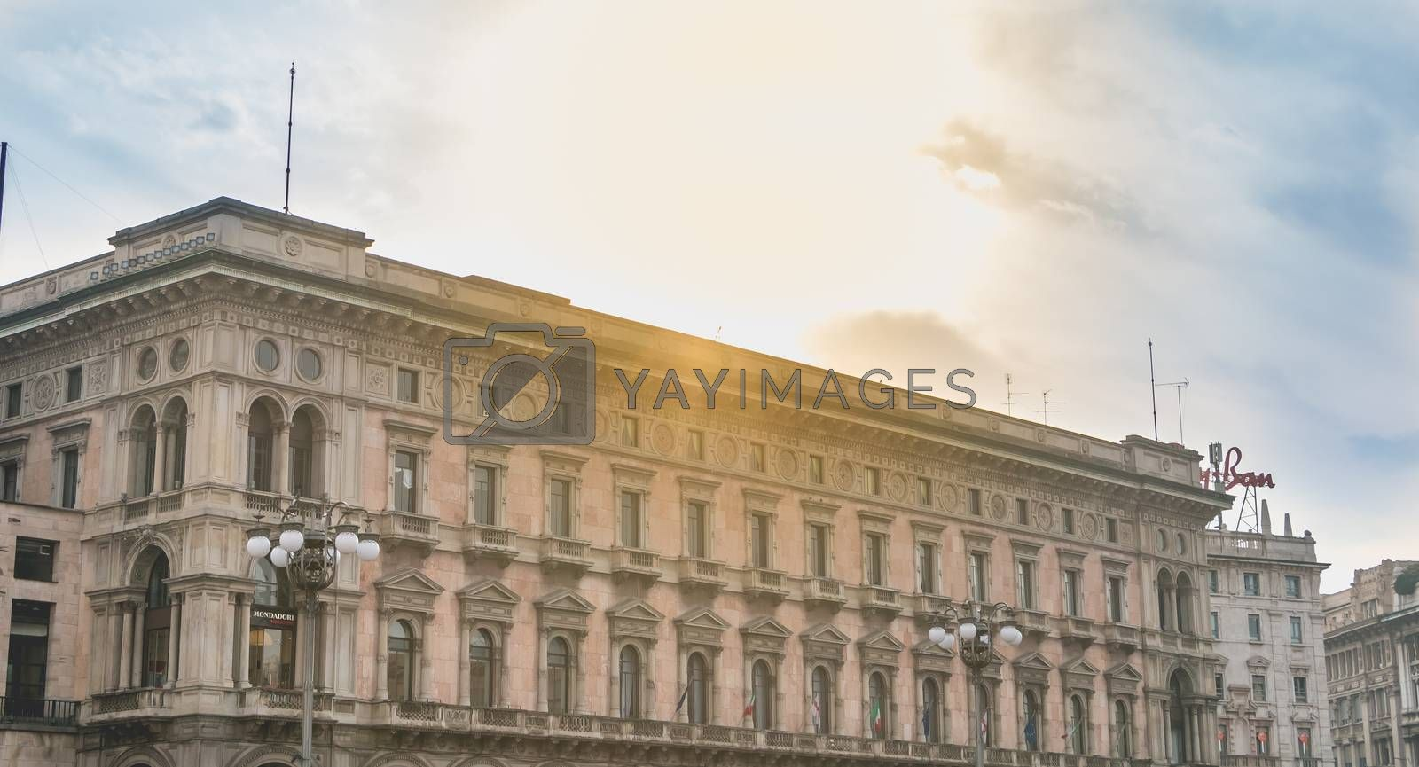 Milan, Italy - November 2, 2017: architectural detail of the building hosting the megastore Mondadori the most important press groups in the country