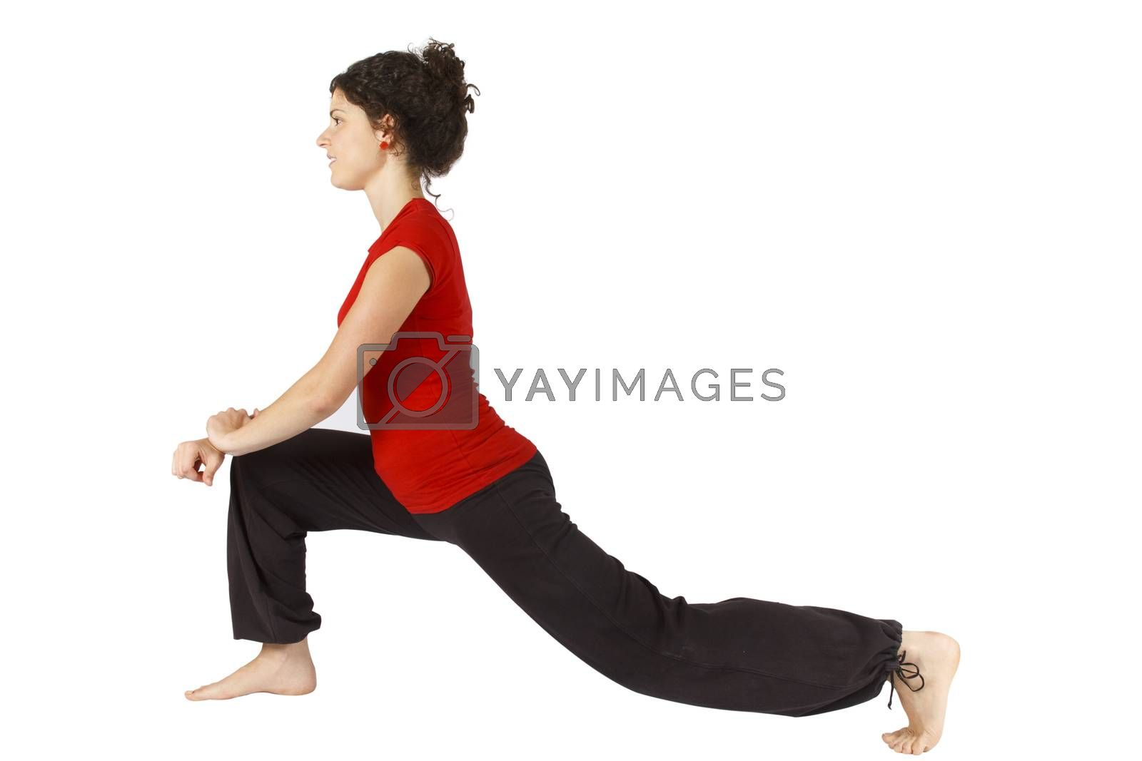 Young woman doing some exercise on floor.