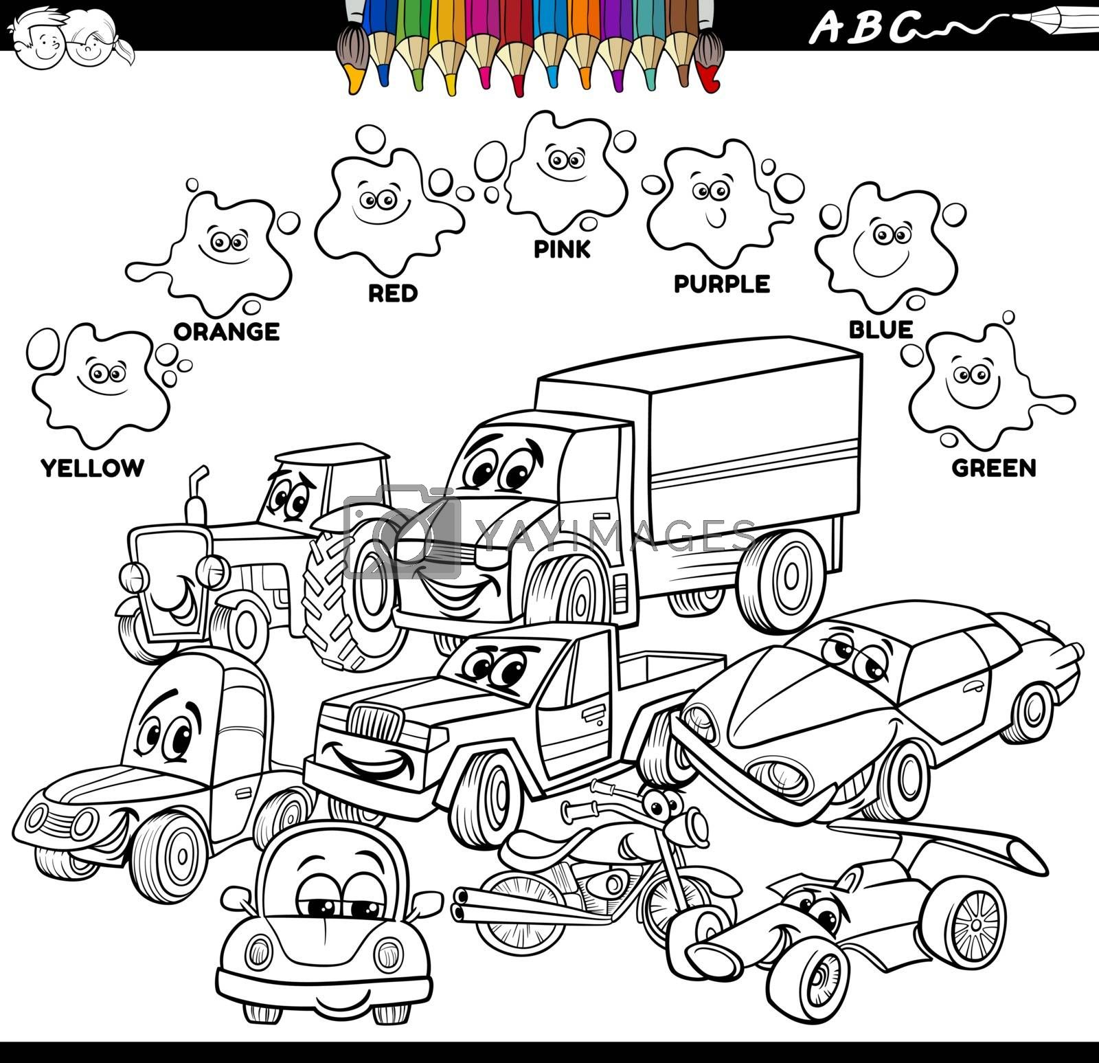 Black and White Educational Cartoon Illustration of Basic Colors with Cars and Transport Characters Group Coloring Book Page
