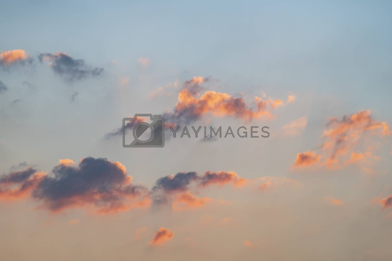 Colorful clouds in the sky for background. Orange black clouds