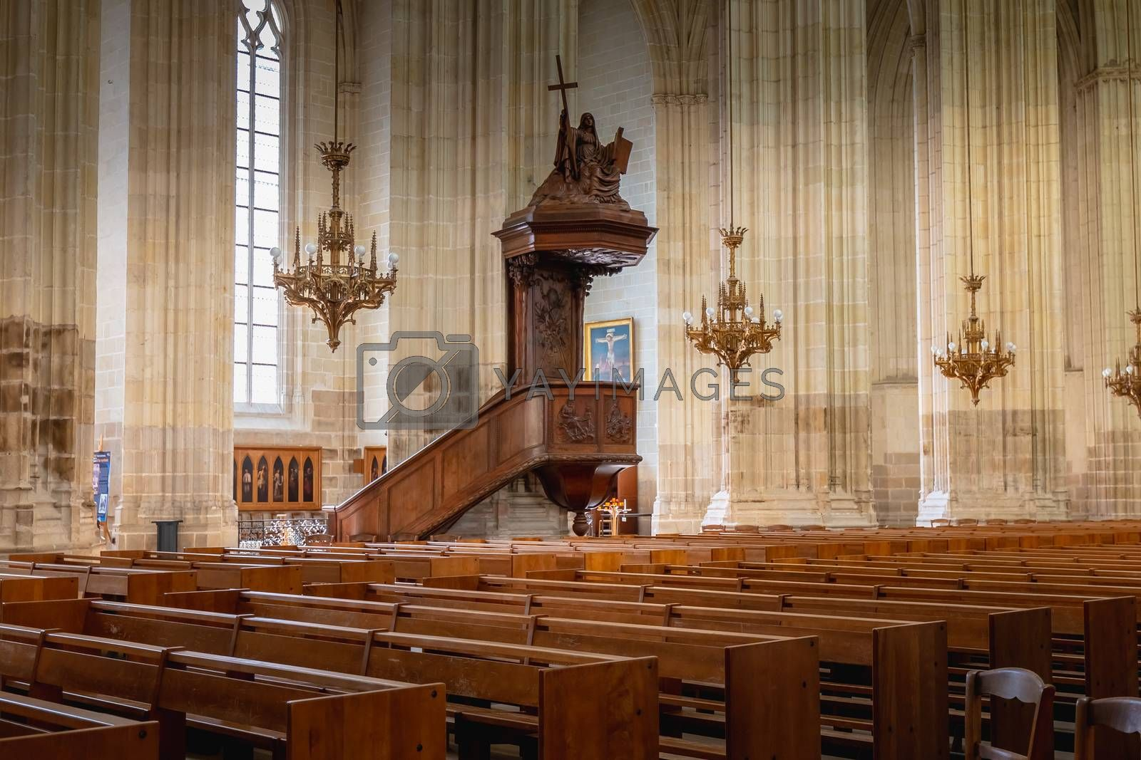 Nantes, France - September 29, 2018: Architecture detail of the interior of Saint Pierre Cathedral in Nantes on a summer day
