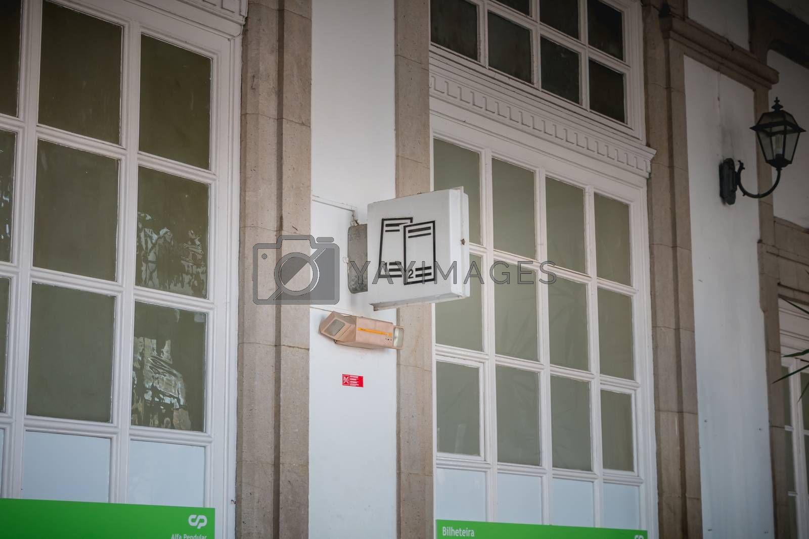 Viana do Castelo, Portugal - May 10, 2018: Architectural detail of the small Viana do Castelo train station on a spring day