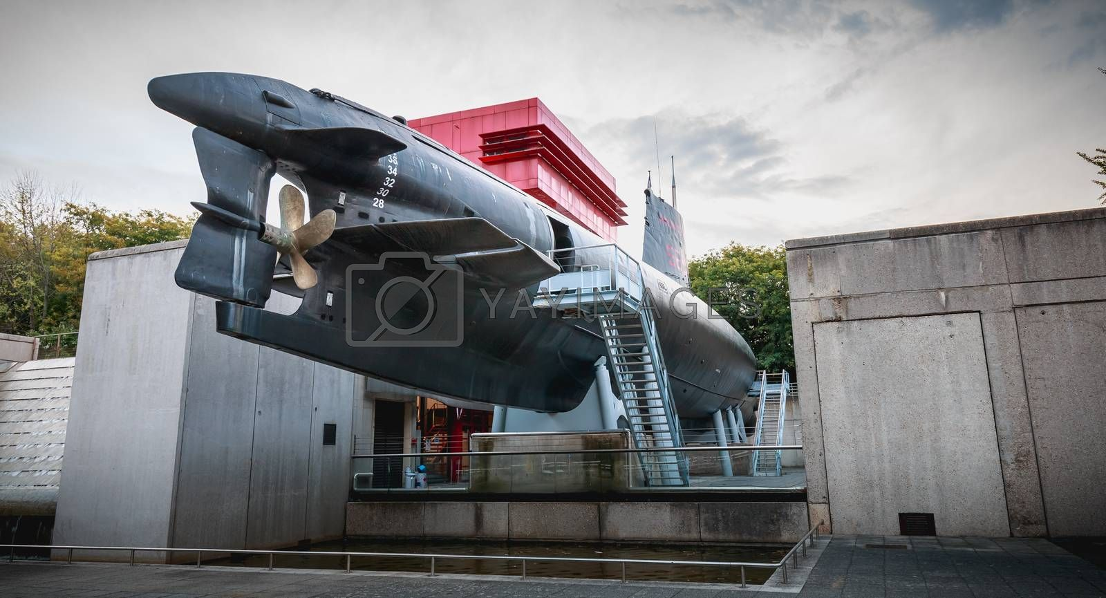 Paris, France - October 6, 2018: exhibition of the Argonaute, French submarine S636 put into service on October 23, 1958 and disarmed on July 31, 1982, opened to the public since 1991 in front of the City of Science and Industry