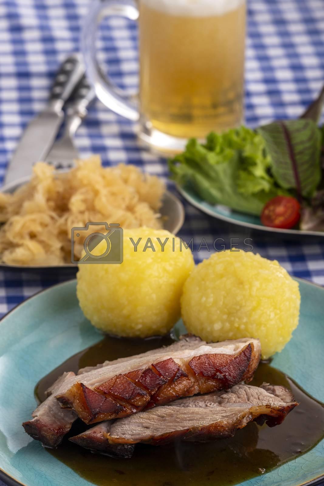 bavarian roasted pork with potato dumlings