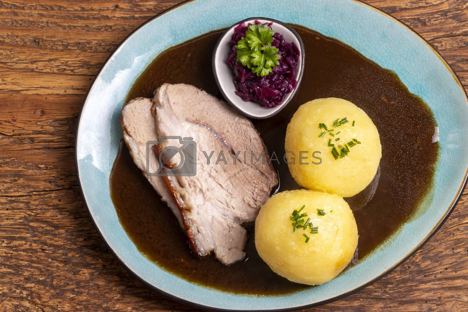 bavarian roasted pork with dumplings