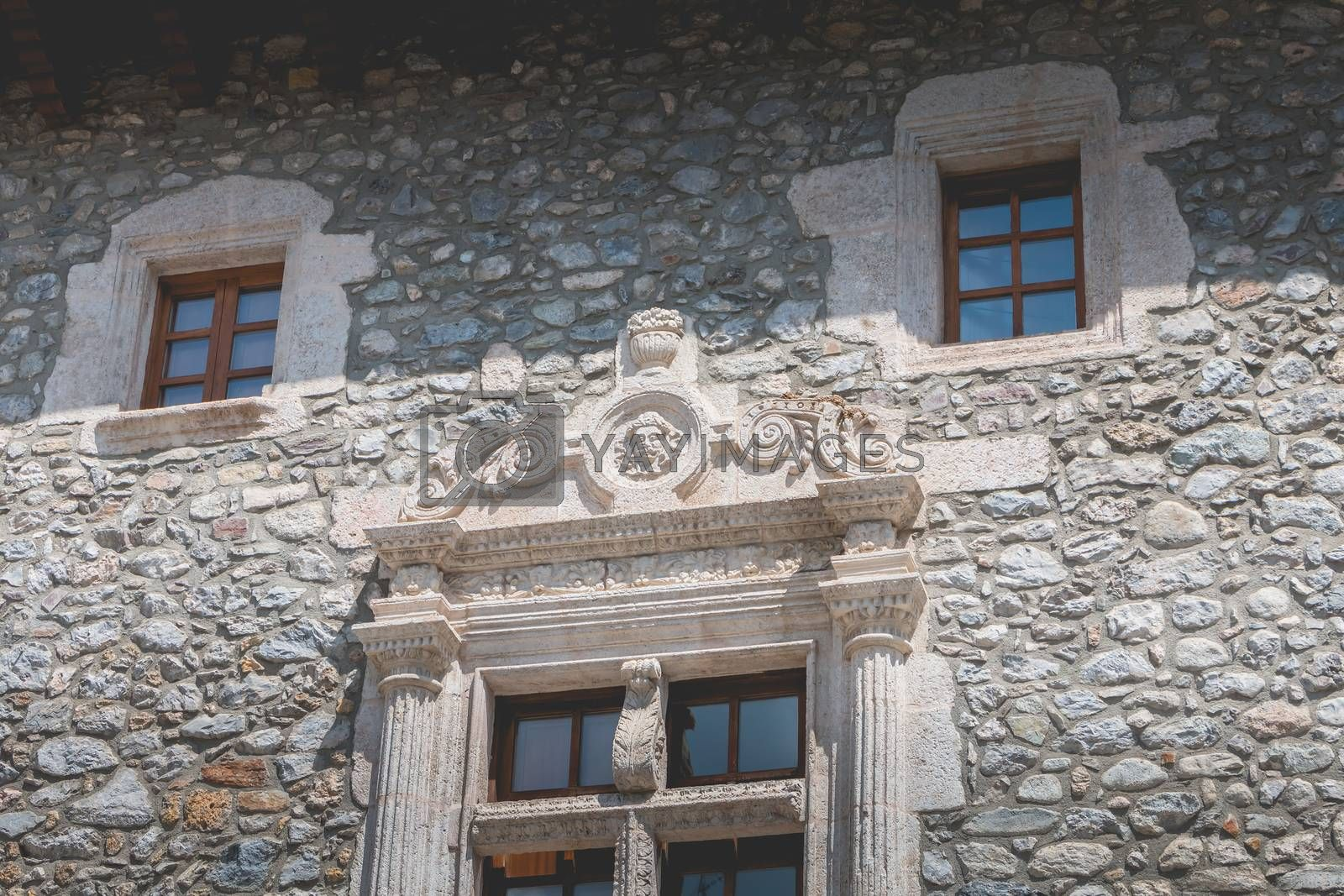 bielsa, spain - August 21, 2018: architectural detail of the town hall in the city center on a summer day