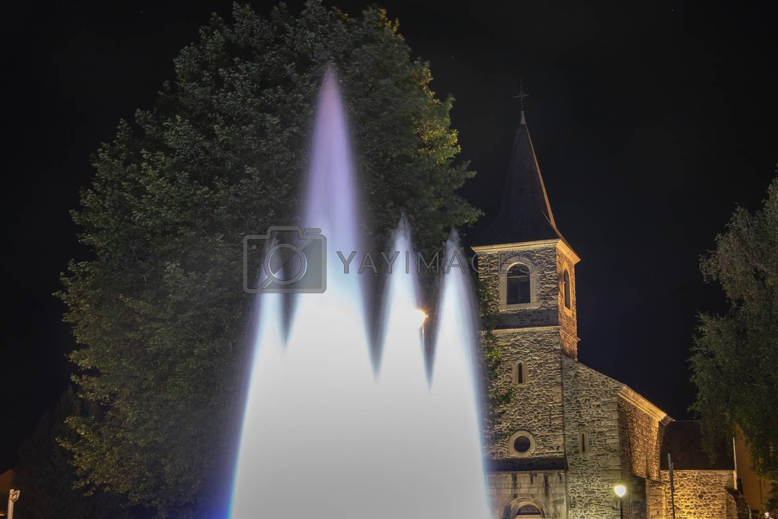 Saint Lary Soulan, France - August 21, 2018: Architecture detail of the Sainte Marie chapel by night on a summer day