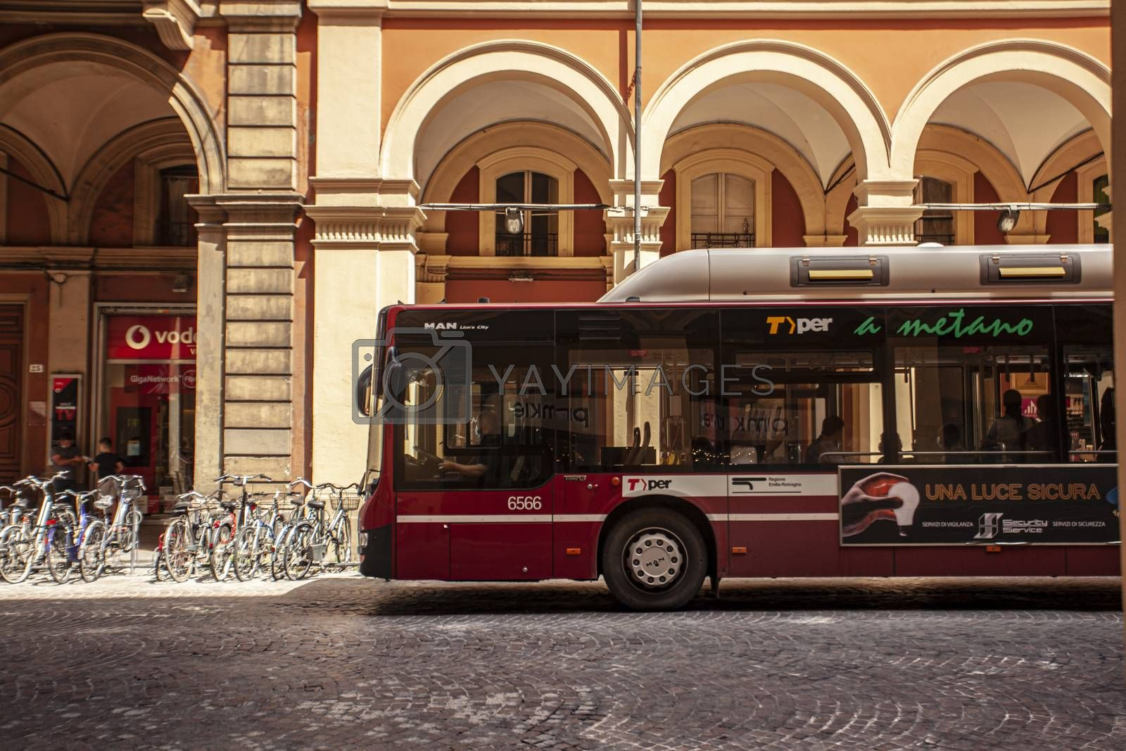 BOLOGNA, ITALY 17 JUNE 2020: Bus in Bologna's street