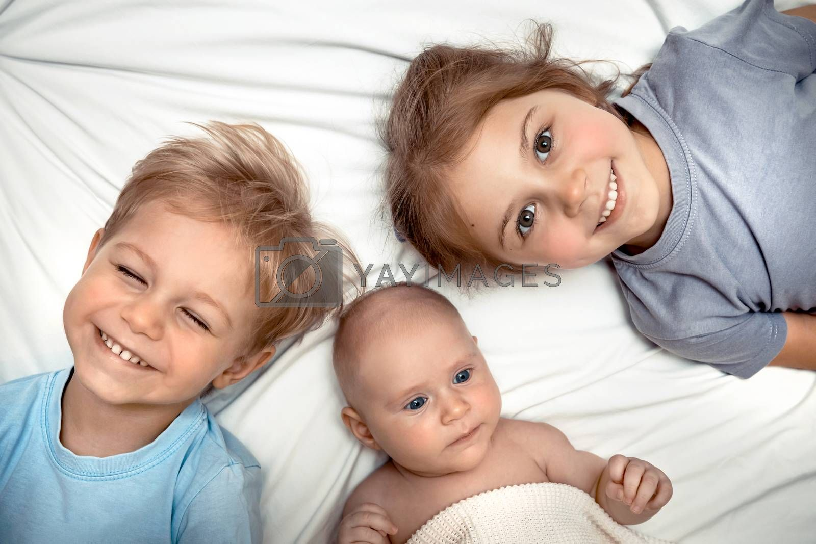 Portrait of a Three Cute Little Kids Lying Down on the Bed at Home. Adorable Siblings Having Fun Together. Happy Family Life