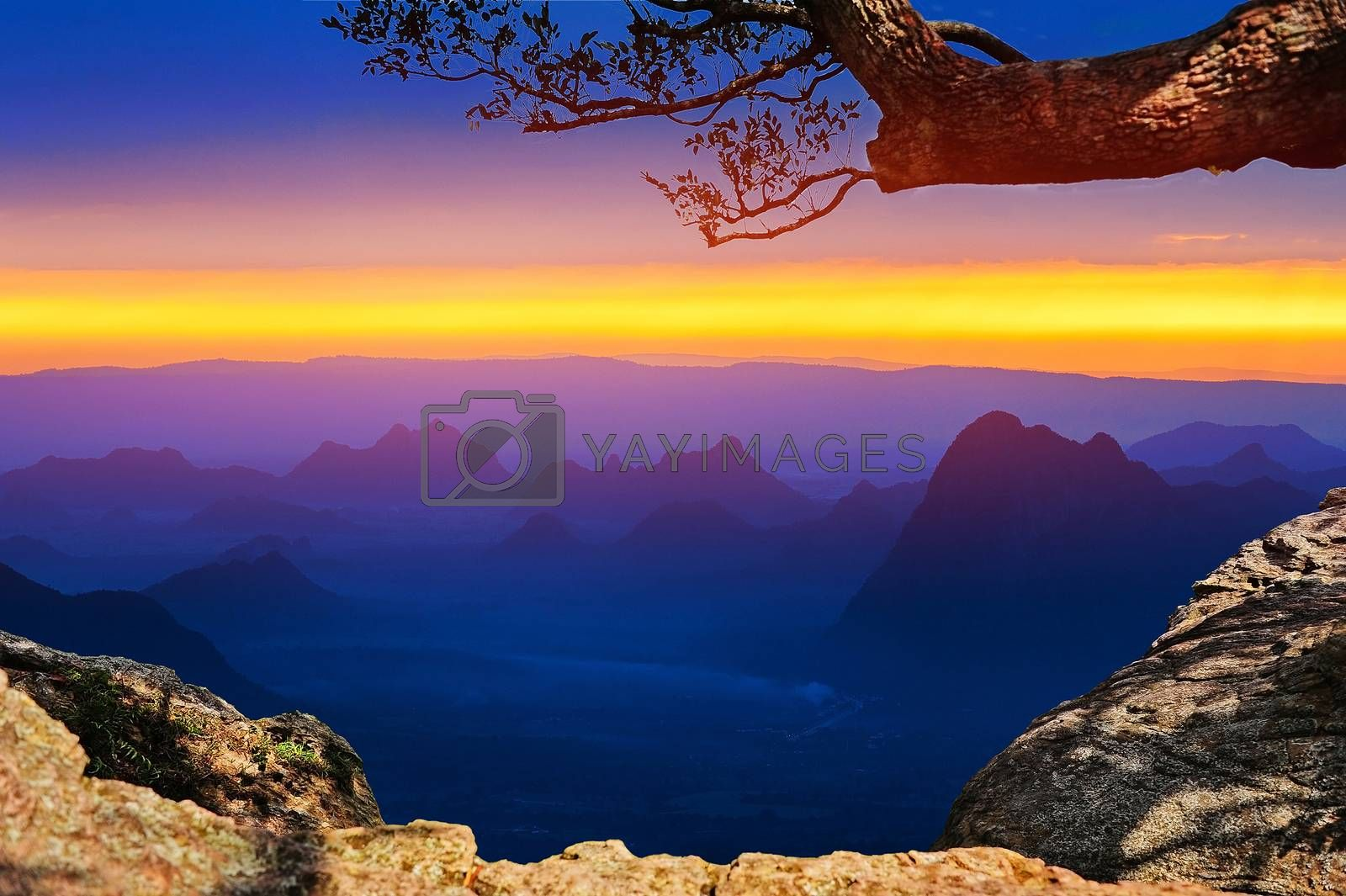 View of Sunset in Mountain on Hilltop in Bagan Thailland