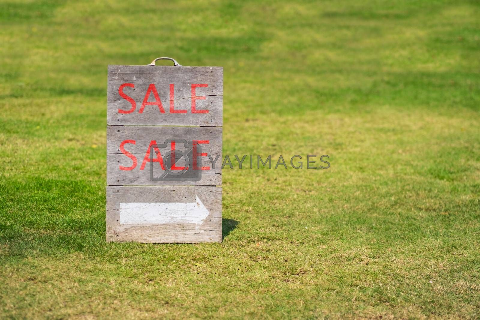 Word sale on wood gardensign