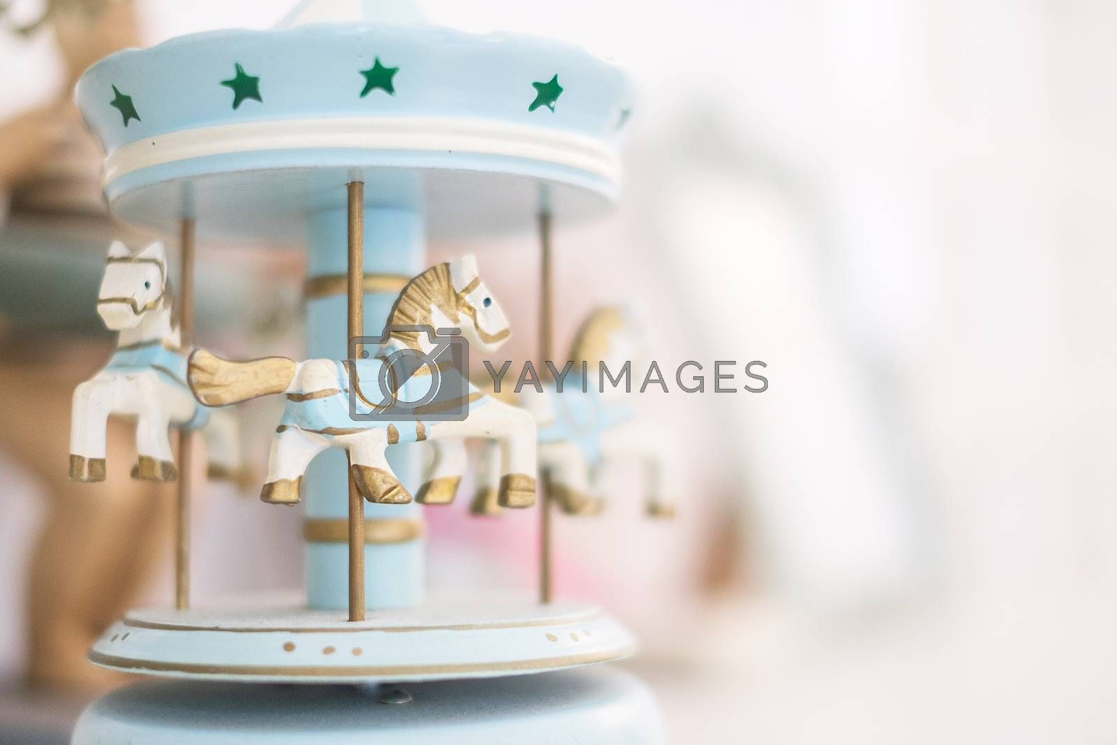 Old vintage white carousel horses