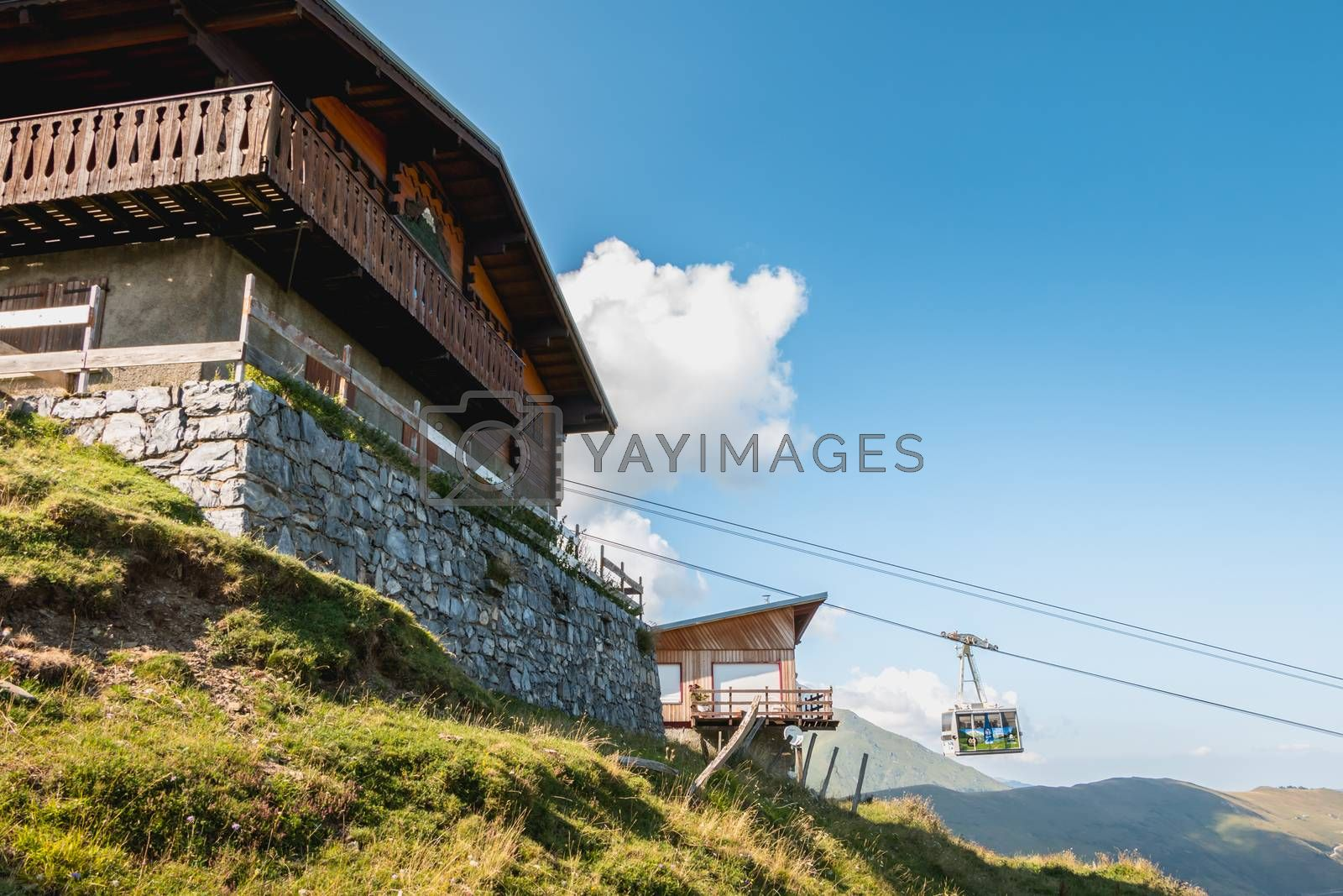 Saint Lary Soulan, France - August 20, 2018: cable car that connects directly the city center of Saint Lary to the station in winter for skiing and in summer for the downhill bike