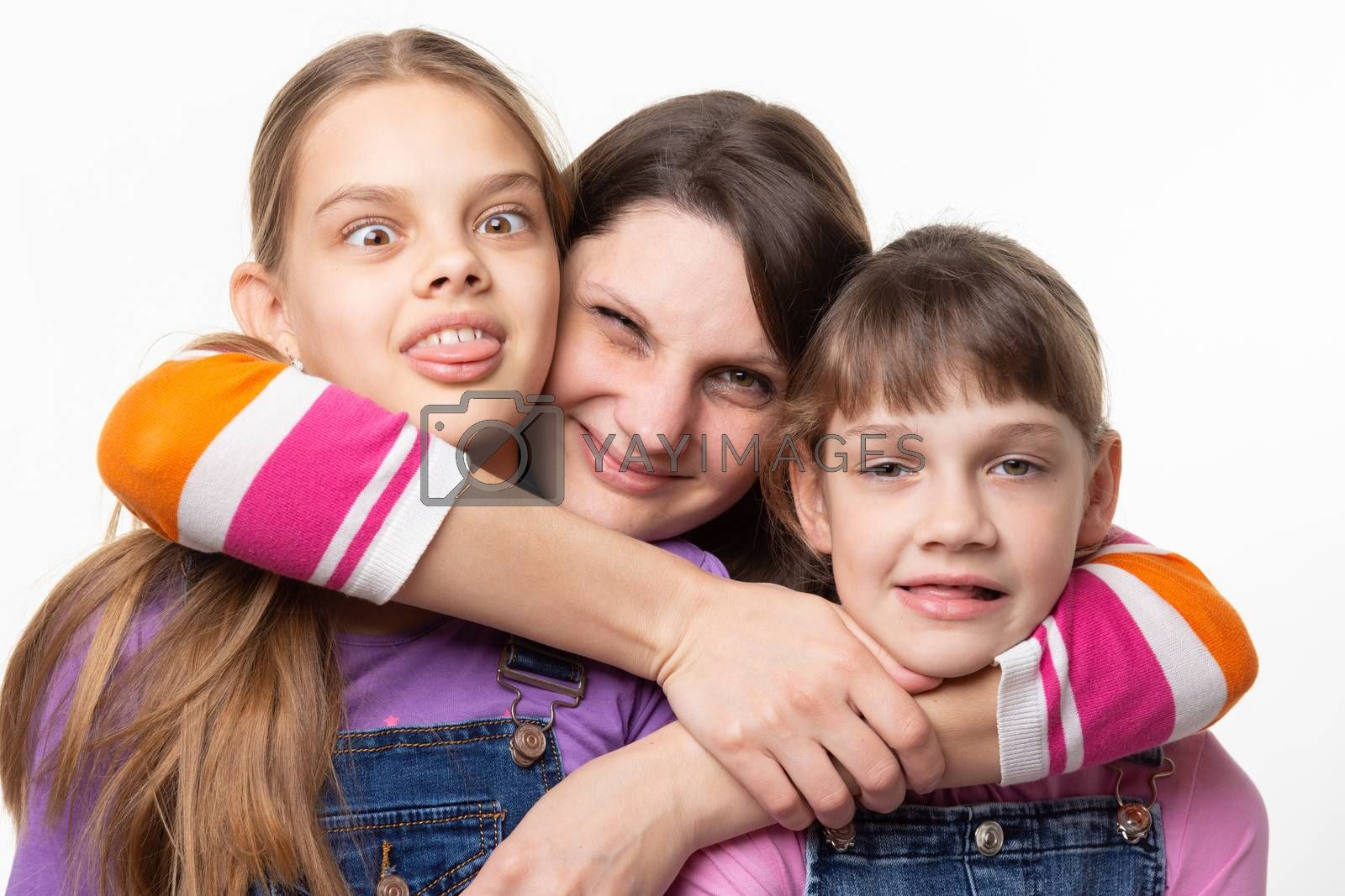 Mom hugged and squeezed the necks of children, isolated on white background