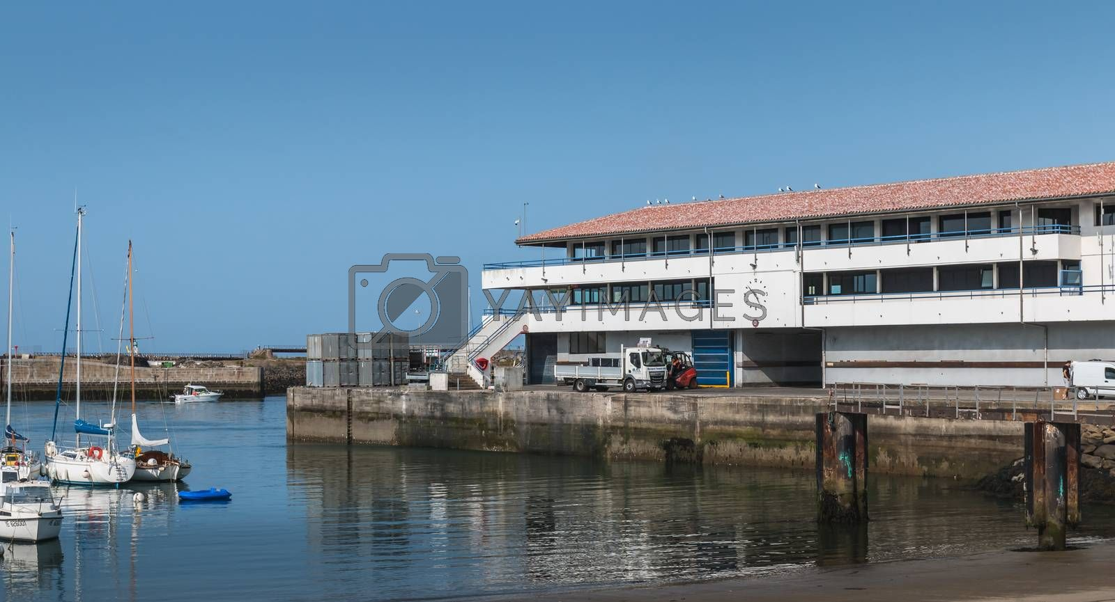 Port Joinville, France - September 18, 2018: view of the ferry terminal of the island of Yeu which makes the transport  goods and people between the island and the continent