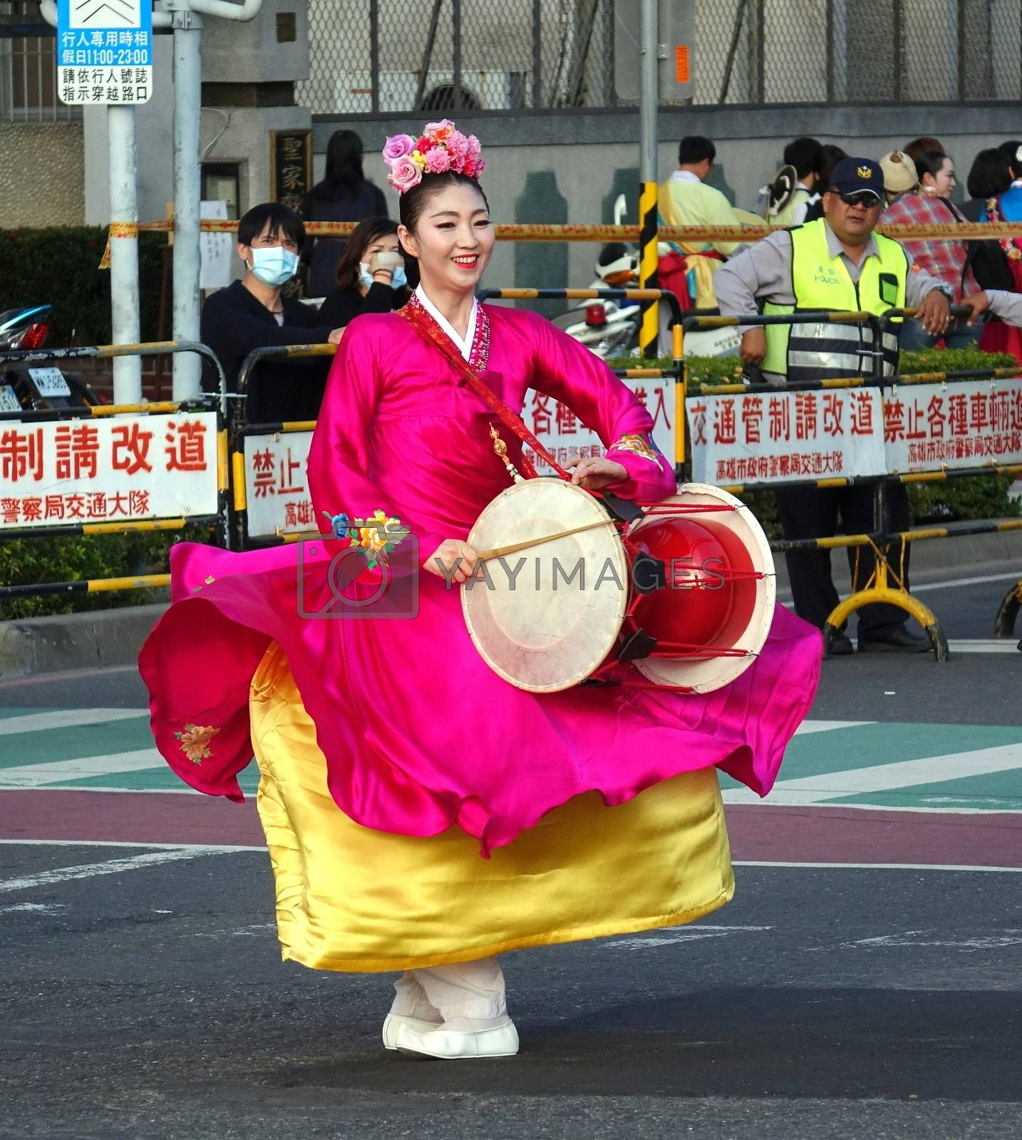 KAOHSIUNG, TAIWAN -- MARCH 2, 2018: A Korean dancer performs during the 2018 Lantern Festival to welcome the Year of the Dog.