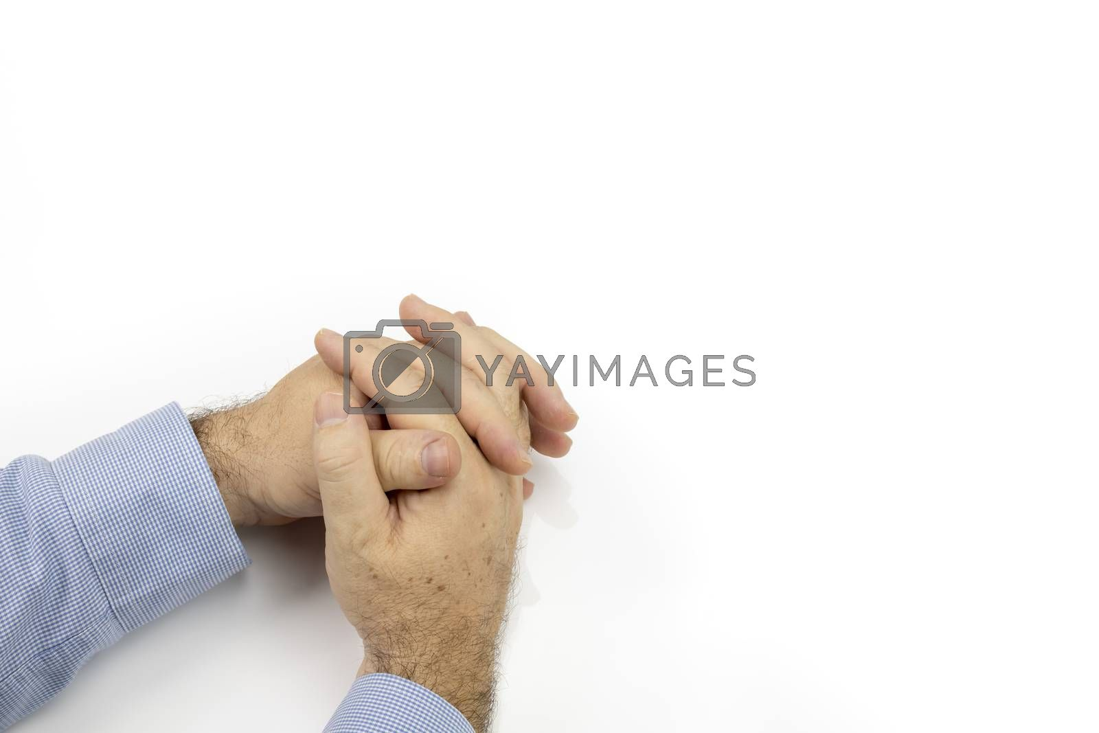hands closeup of a man in the forties (40s) on white background with large copy space