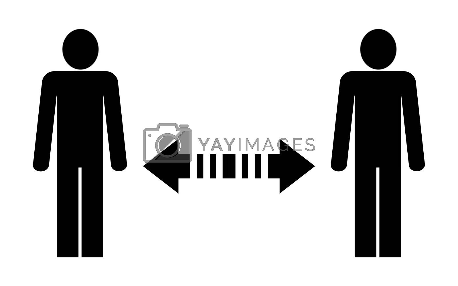 Social distance sign board with two persons and arrows with copy space for your own text