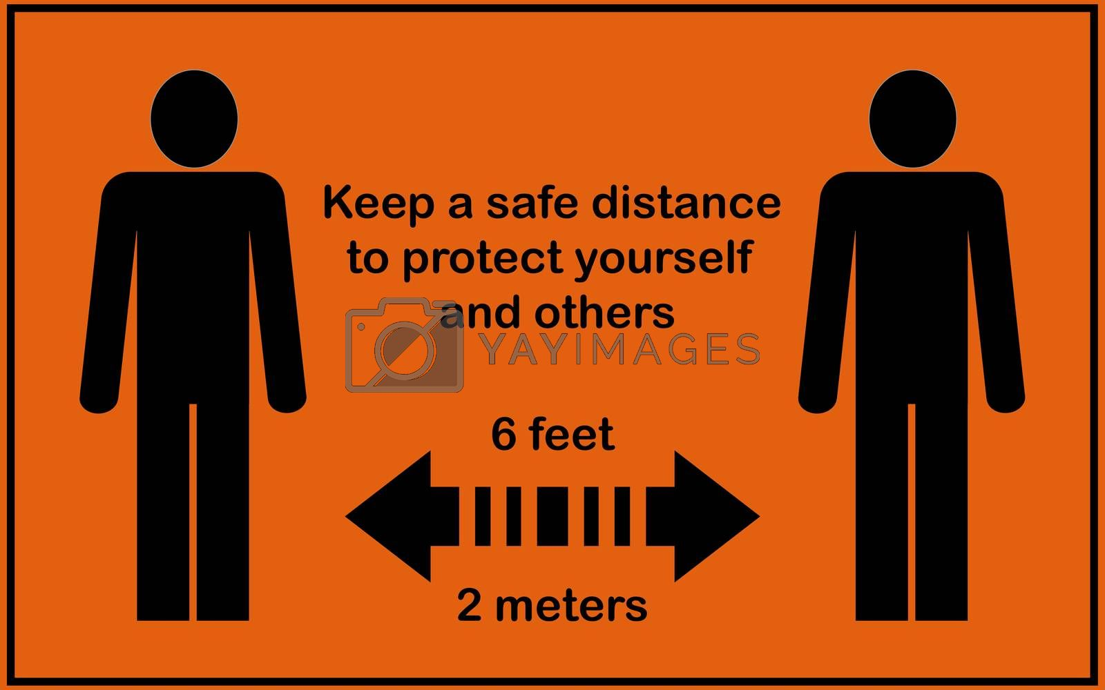 Social distance sign board with two persons , arrows, text with 6 feet and 2 meters. Orange background