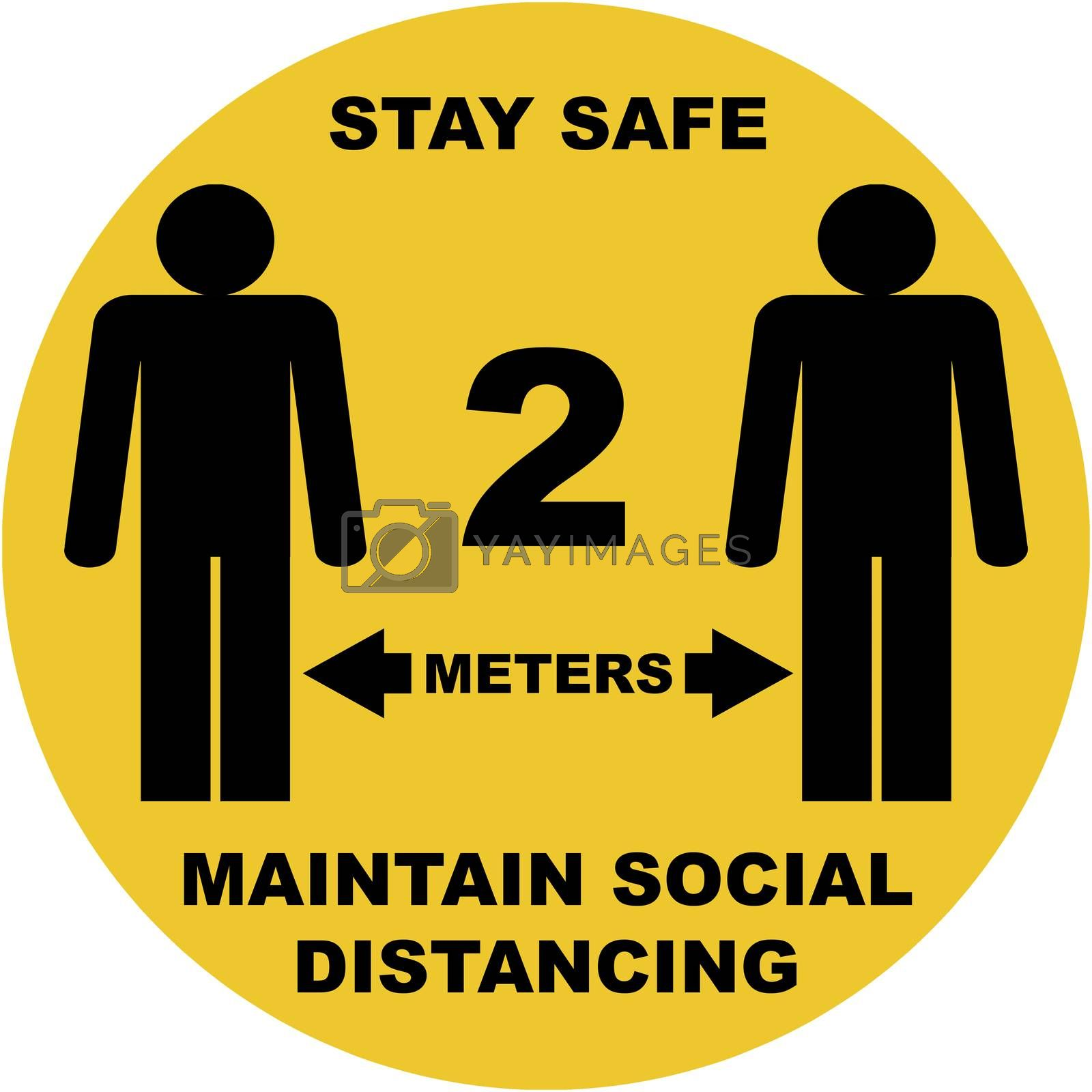 Social distance sign board with two persons, arrows, text with distances in feet and meters