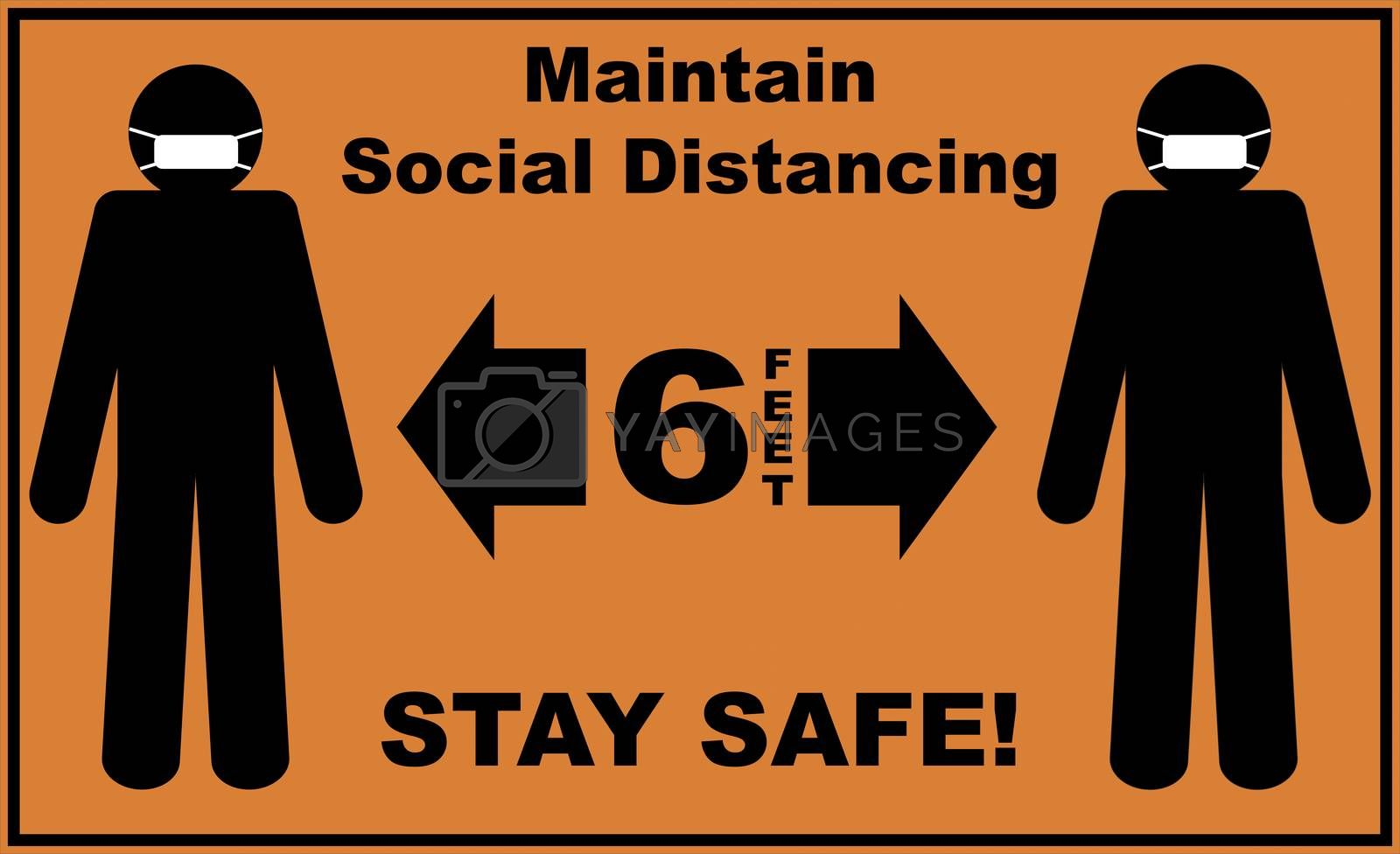 Social distance sign board with two silhouettes of men wearing masks and text asking to maintain 6 feet of social distancing