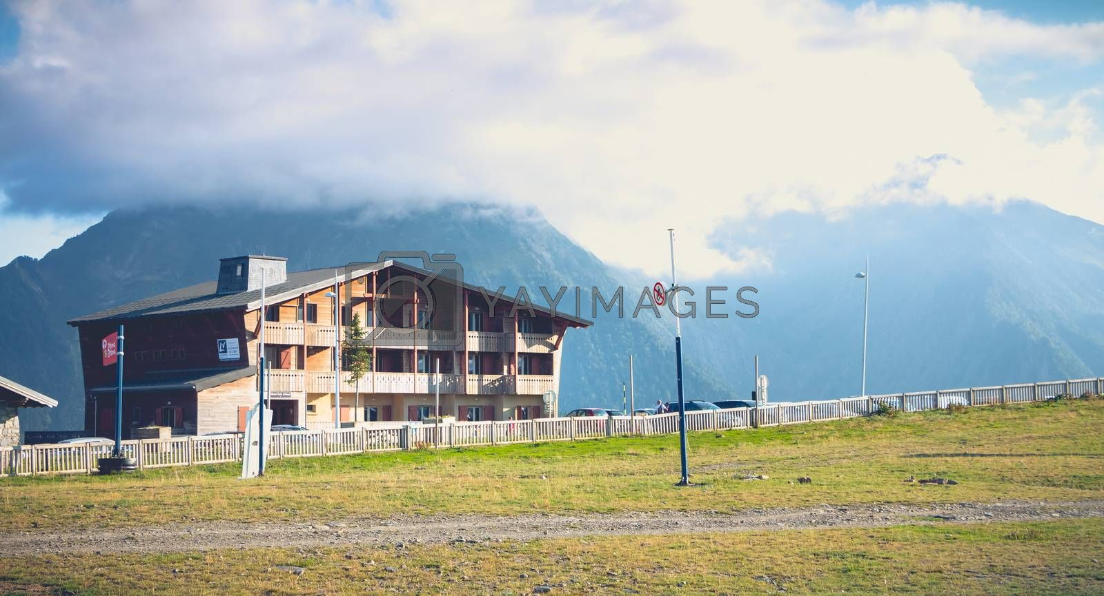 Saint Lary Soulan, France - August 20, 2018: mountain chalet in summer at the bottom of the slopes in a ski resort without snow