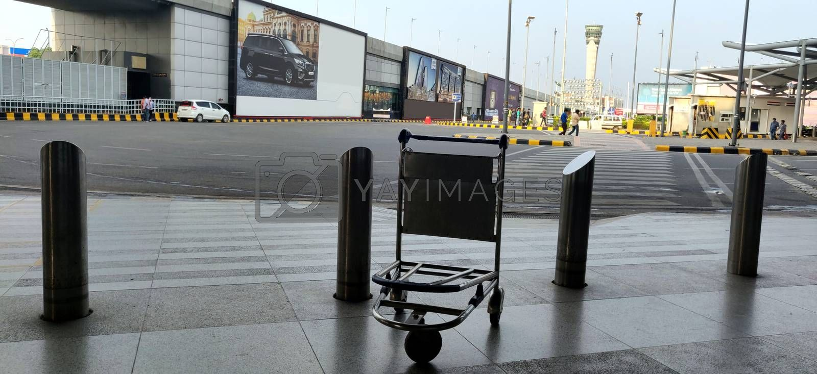 Empty bag trolley at International airport of Delhi in June 2020 amidst corona virus pandemic at Indira Gandhi International Airport n Delhi, India