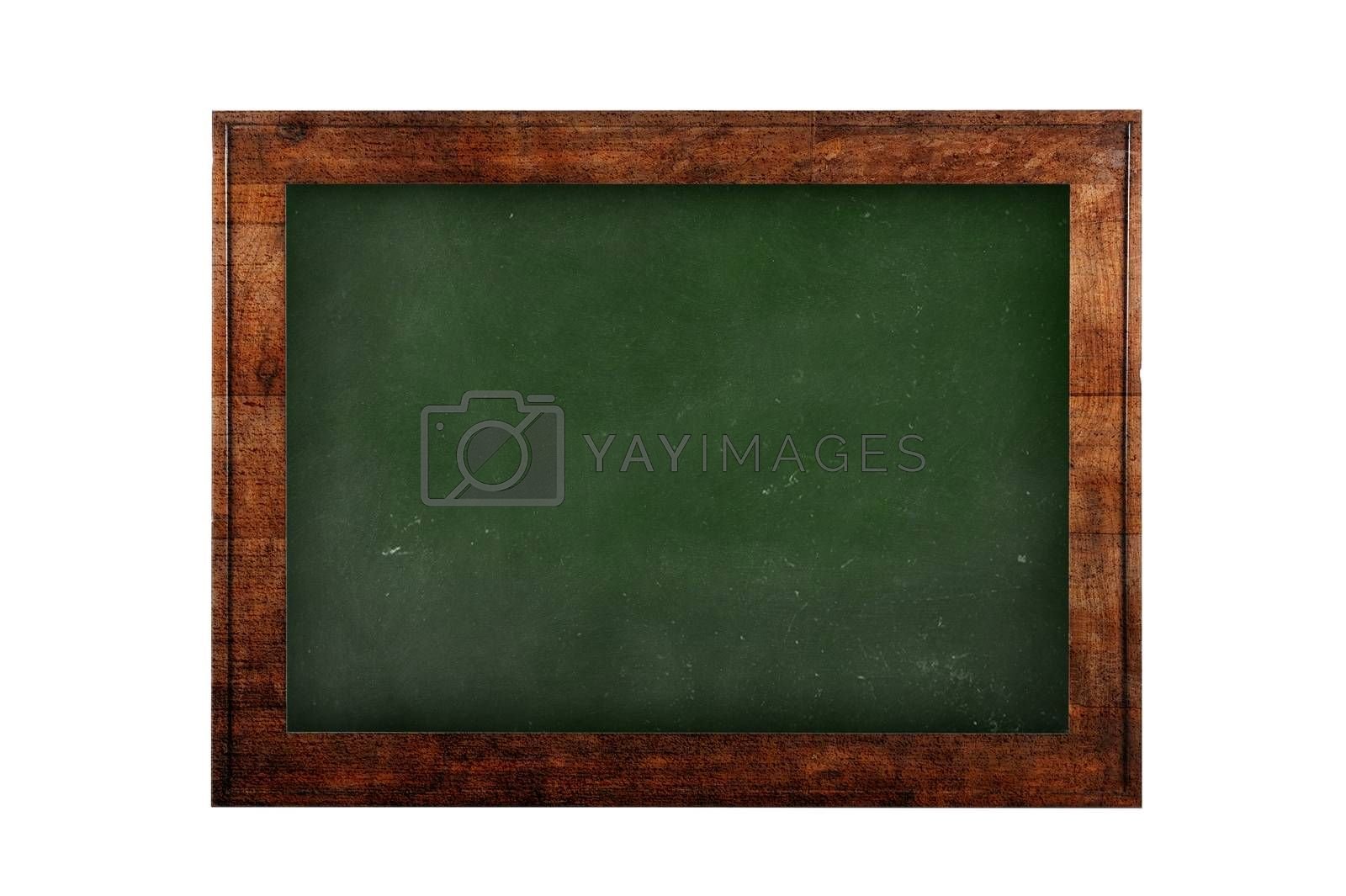 Green board with wooden frame against of white isolated. 3D rendering