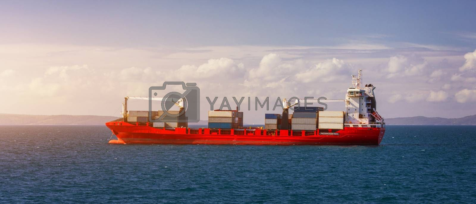 Logistics and transportation of International Container Cargo ship in the sea. International Container Cargo ship in the ocean, Freight Transportation, Shipping, Nautical Vessel.