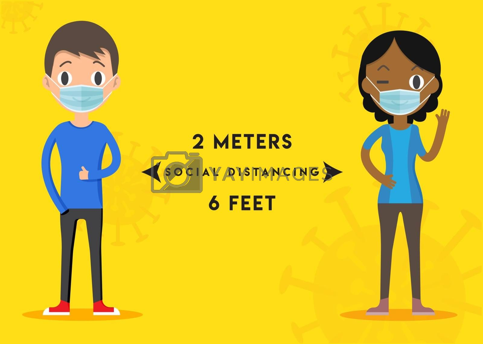 Keep Distance Sign. Coronovirus Epidemic Protective Equipment. Preventive measures. Steps to protect yourself. Keep the 2 meters Distance. Vector illustration.