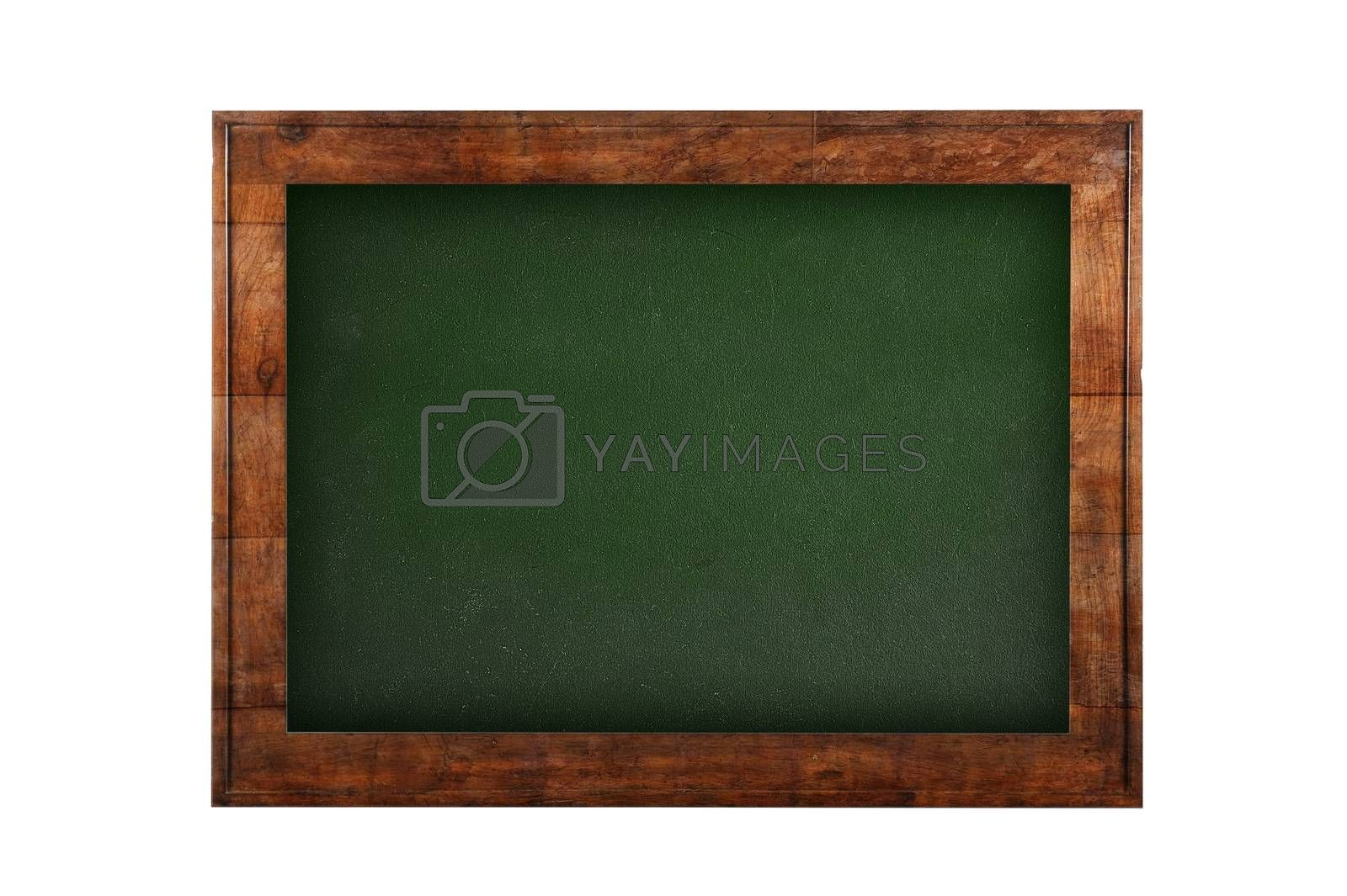 Green board with wooden frame against of white isolated background