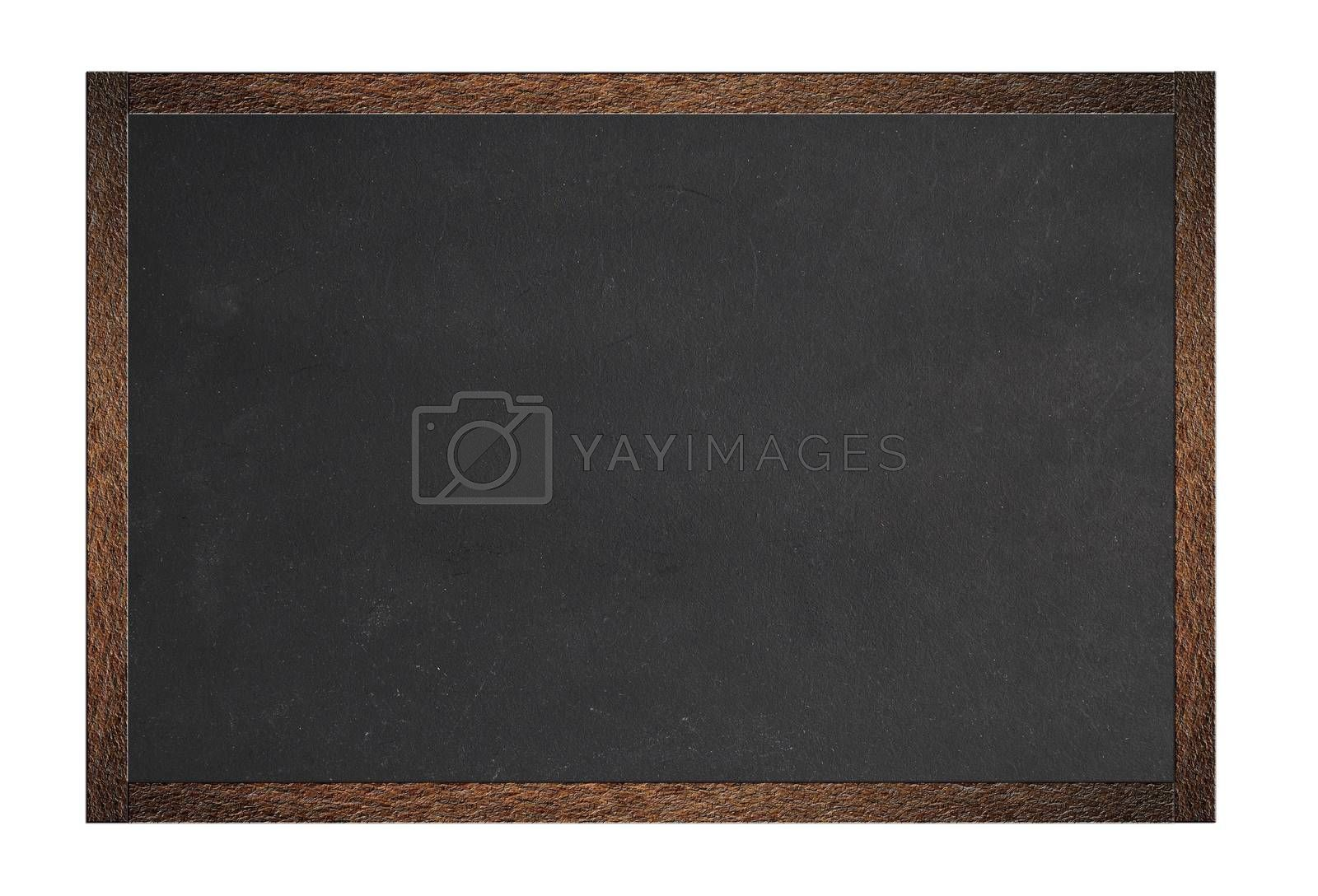 Metal blackboard with clear space to write and isolated on white background