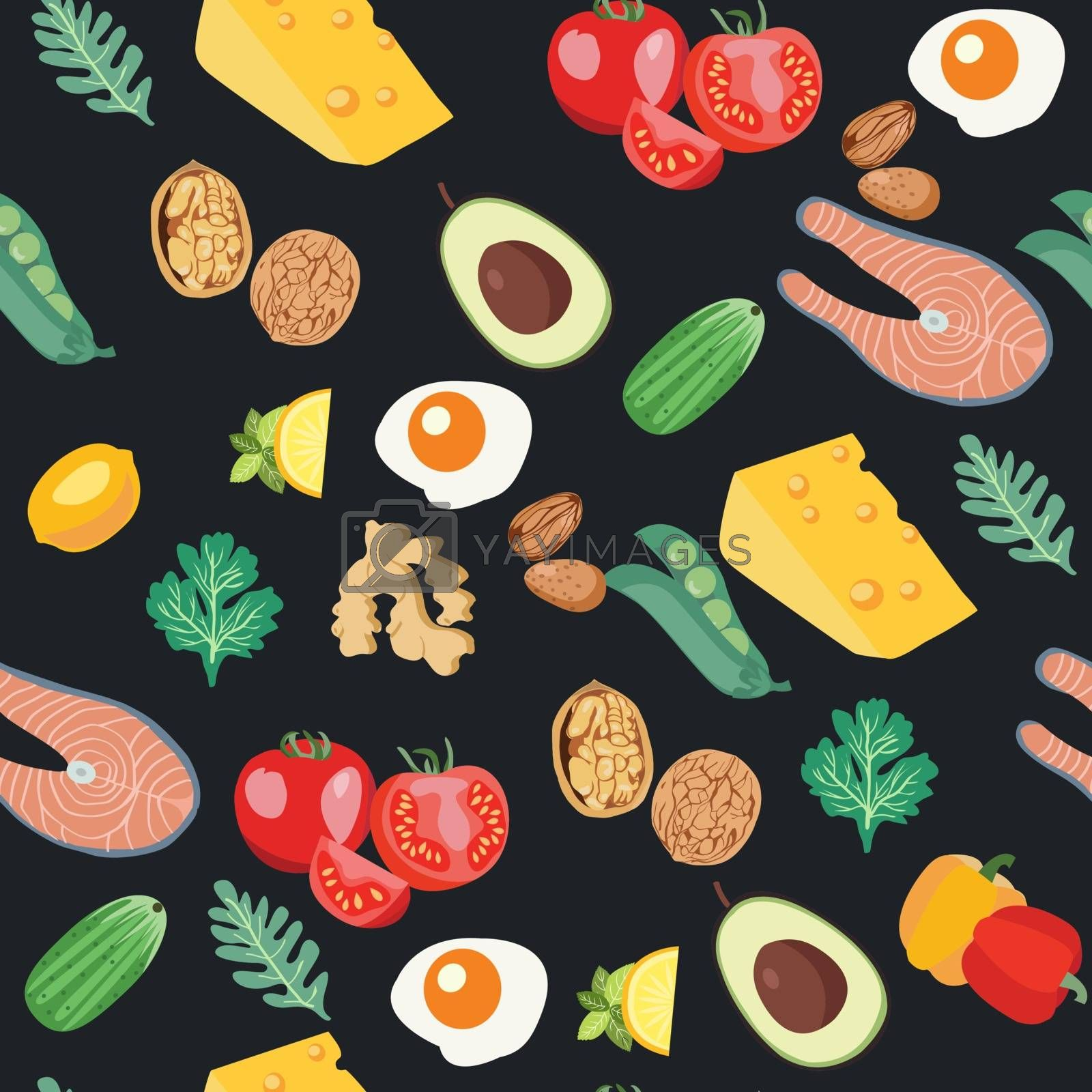 Vector hand drawn seamless pattern with organic vegetables set of Food theme design Fresh Healthy food for Diet. Farmer market, Healthy food, organic background.