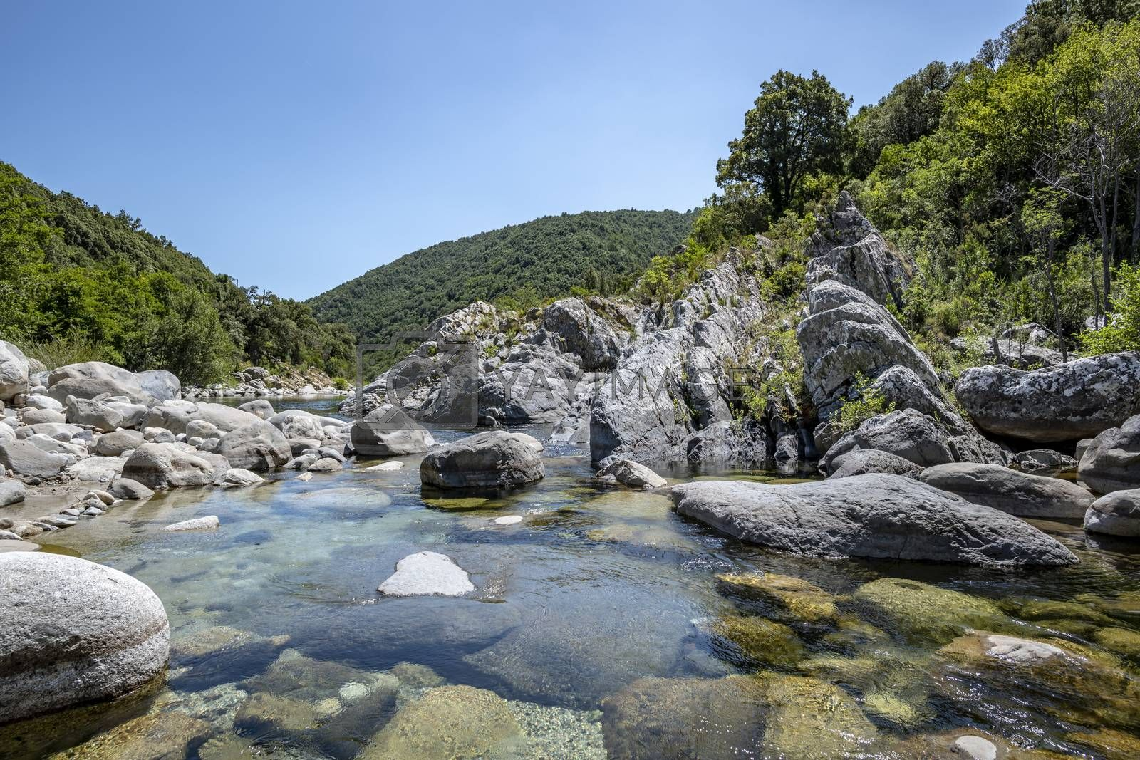Pure and fresh water natural pool of Travu River, Corsica, France, Europe (copy space in the sky)