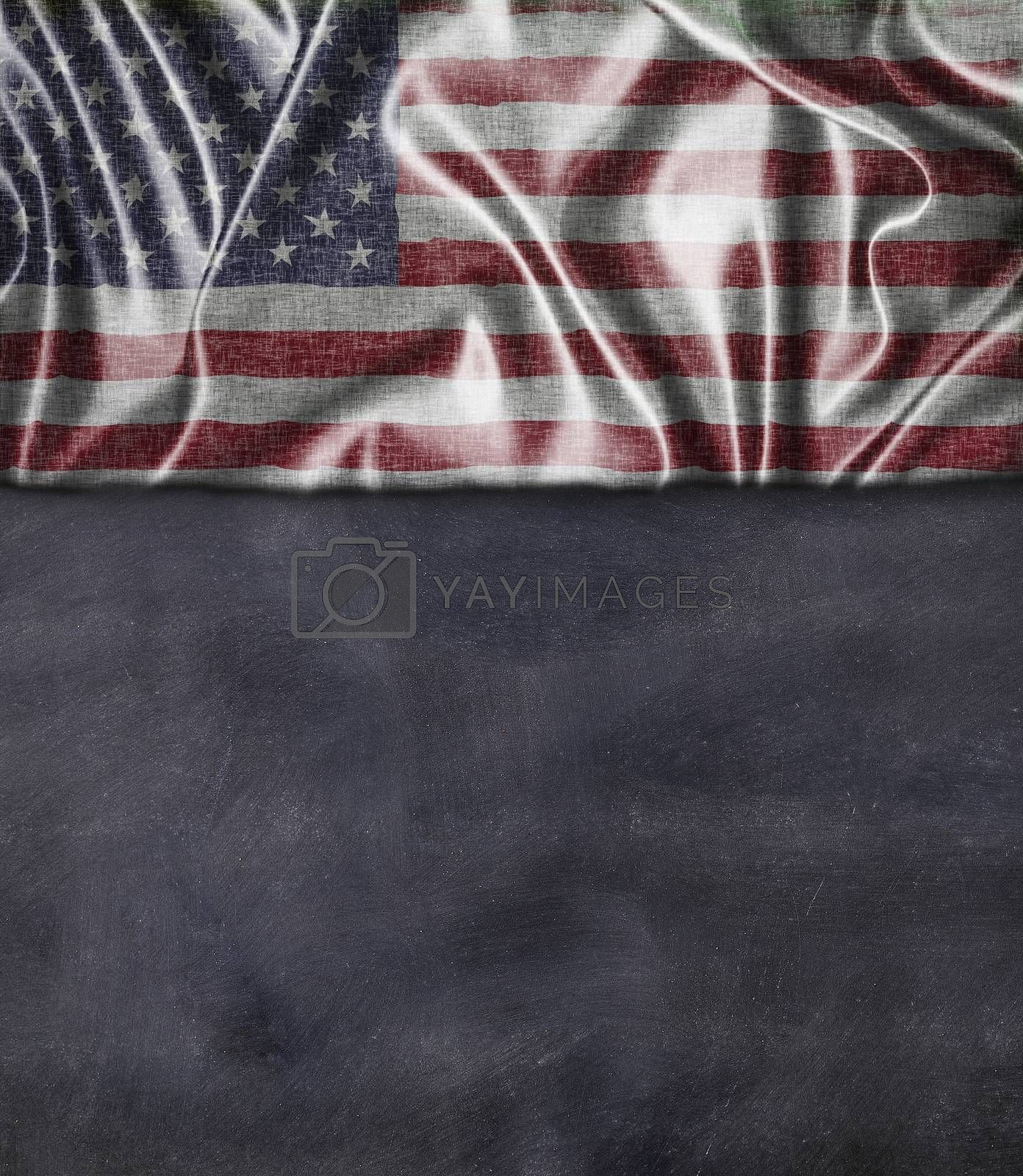 Usa flag and blackboard with blank space for write