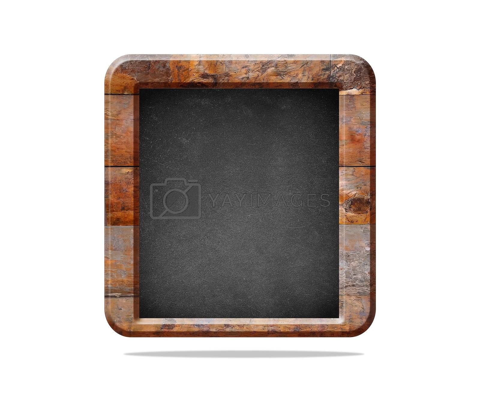 Wooden blackboard with clear space to write and isolated on white background