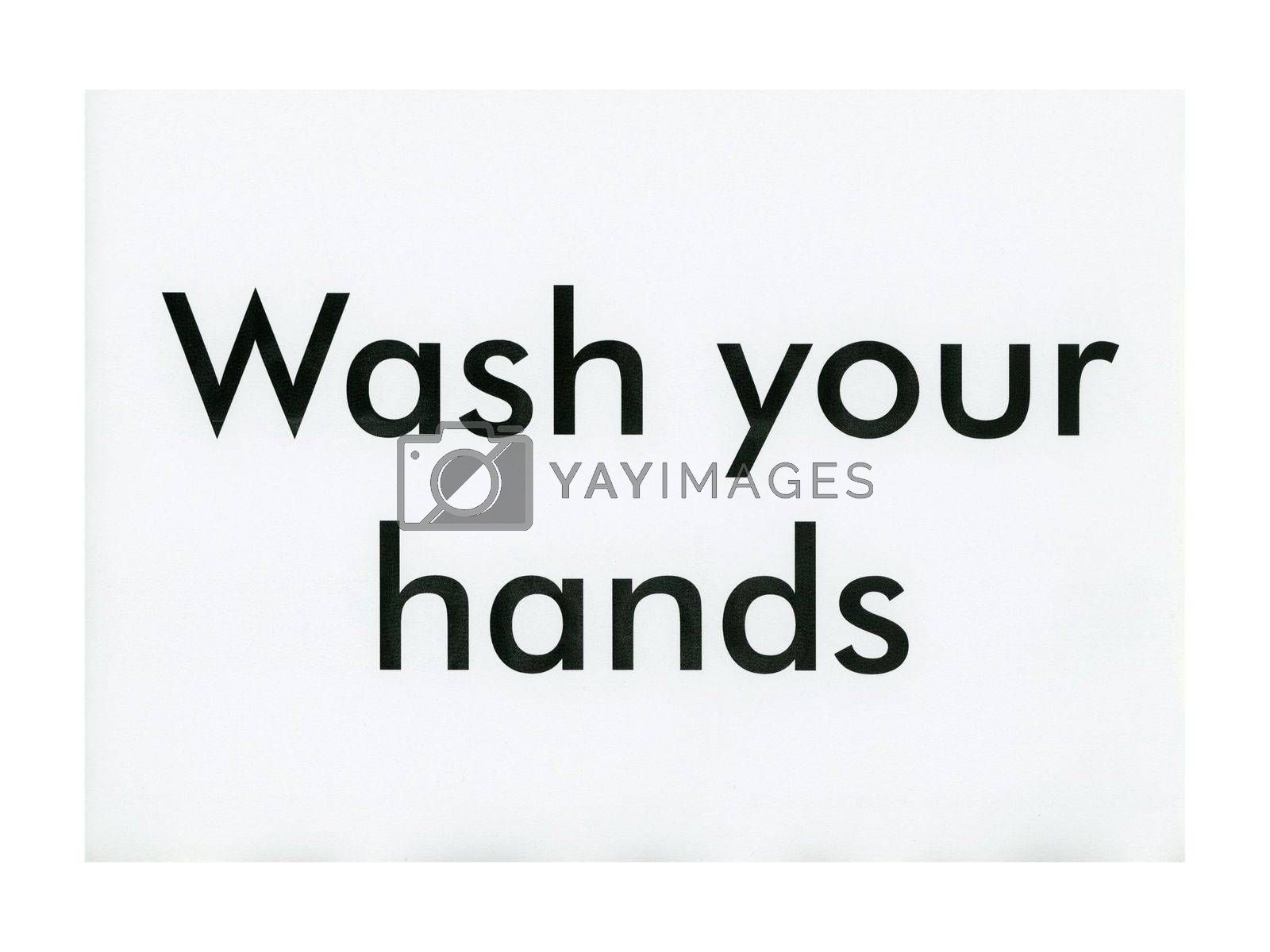 Makeshift wash your hands sign printed on A4 sheet