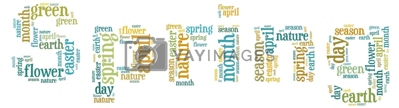 Illustration with word cloud, related with spring.