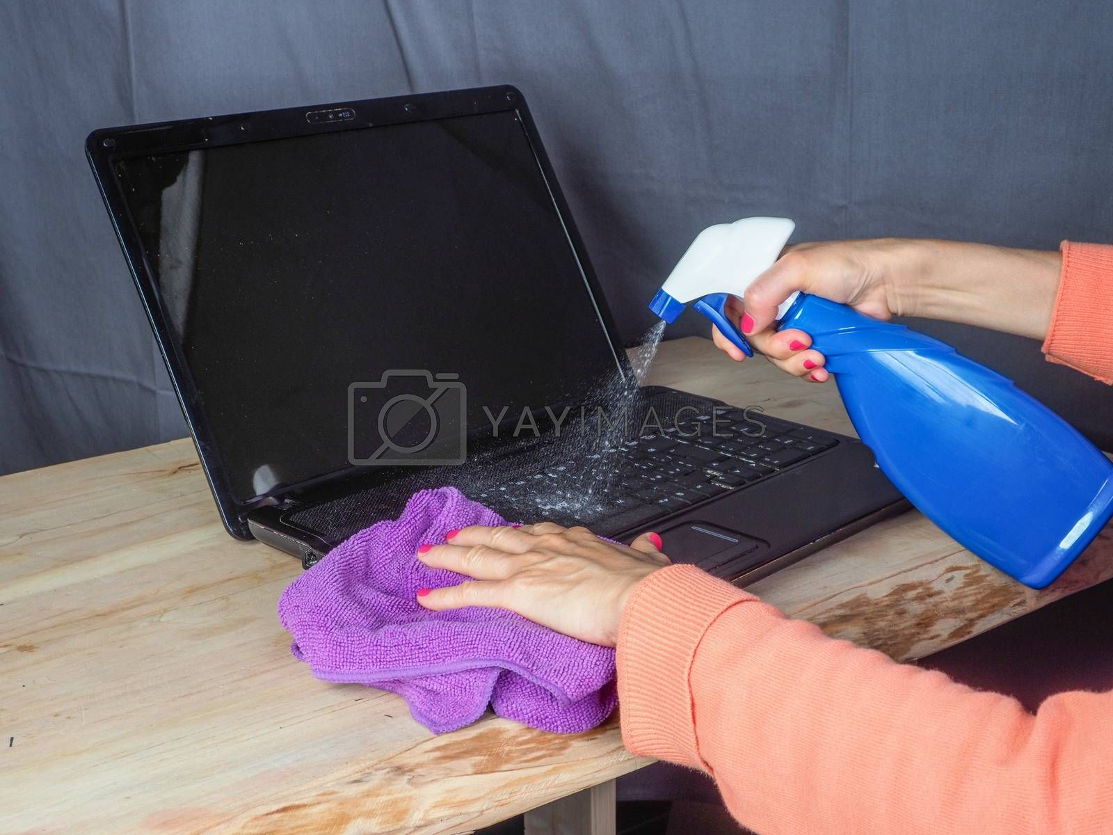 Hands of woman cleaning and sanitizing home office devices and o by verbano
