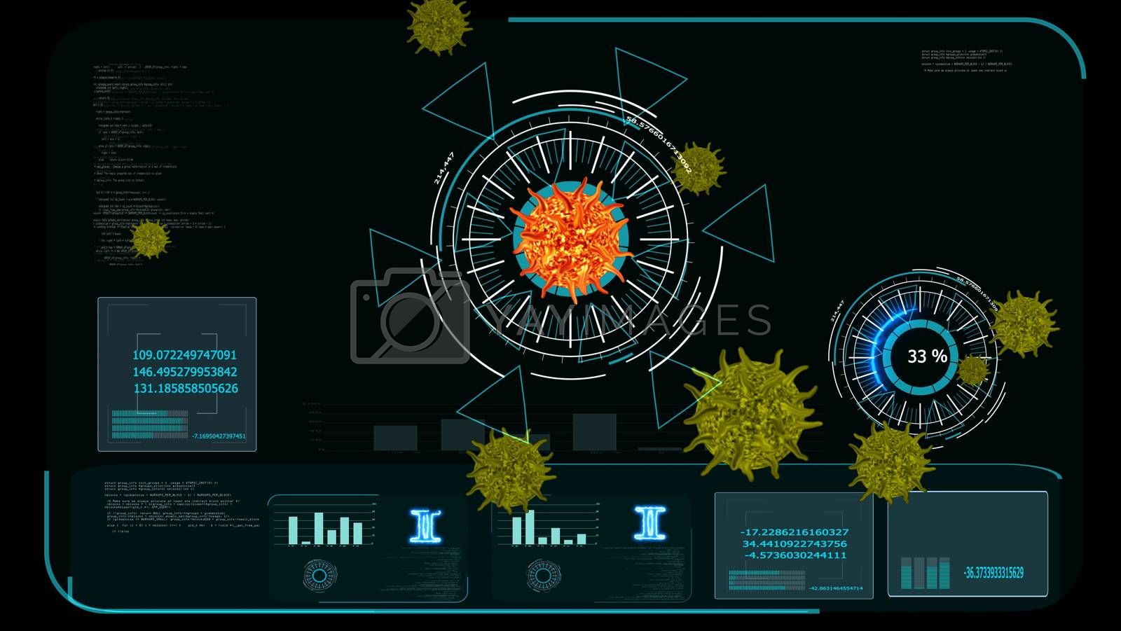 lava color virus covid 19 digital graph begin analysis to find vaccine and medicine and yellow another virus on monitor