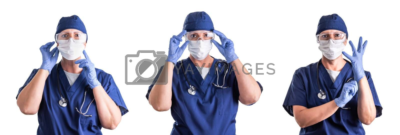 Set of Doctors or Nurses Wearing Personal Protective Equipment Isolated on White Background.