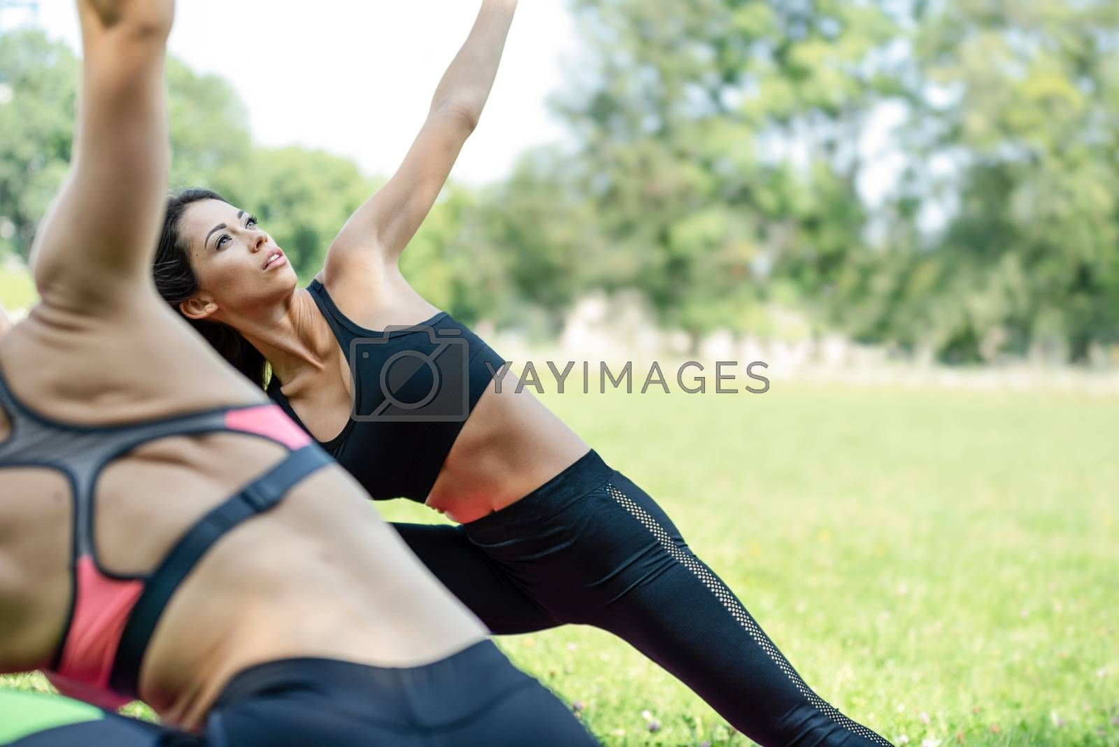 Two beautiful young women doing yoga exercises in the park on a sunny day in close-up (copy space).