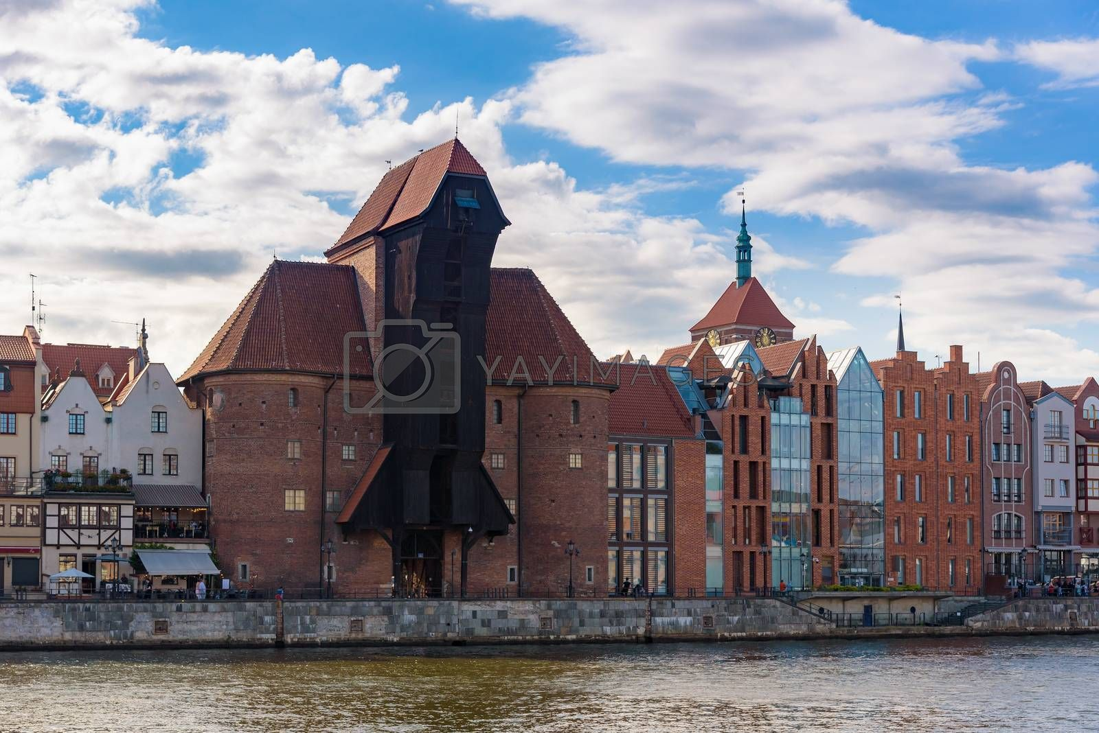 Medieval port crane in the old town of Gdansk at Motlawa river