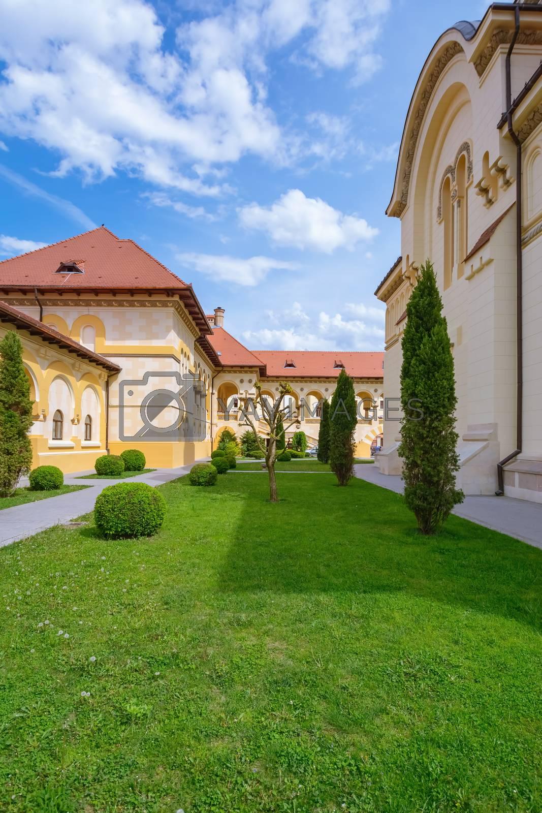 Inner Courtyard of Coronation Cathedral in Alba Carolina Citadel. Alba Iulia, Romania